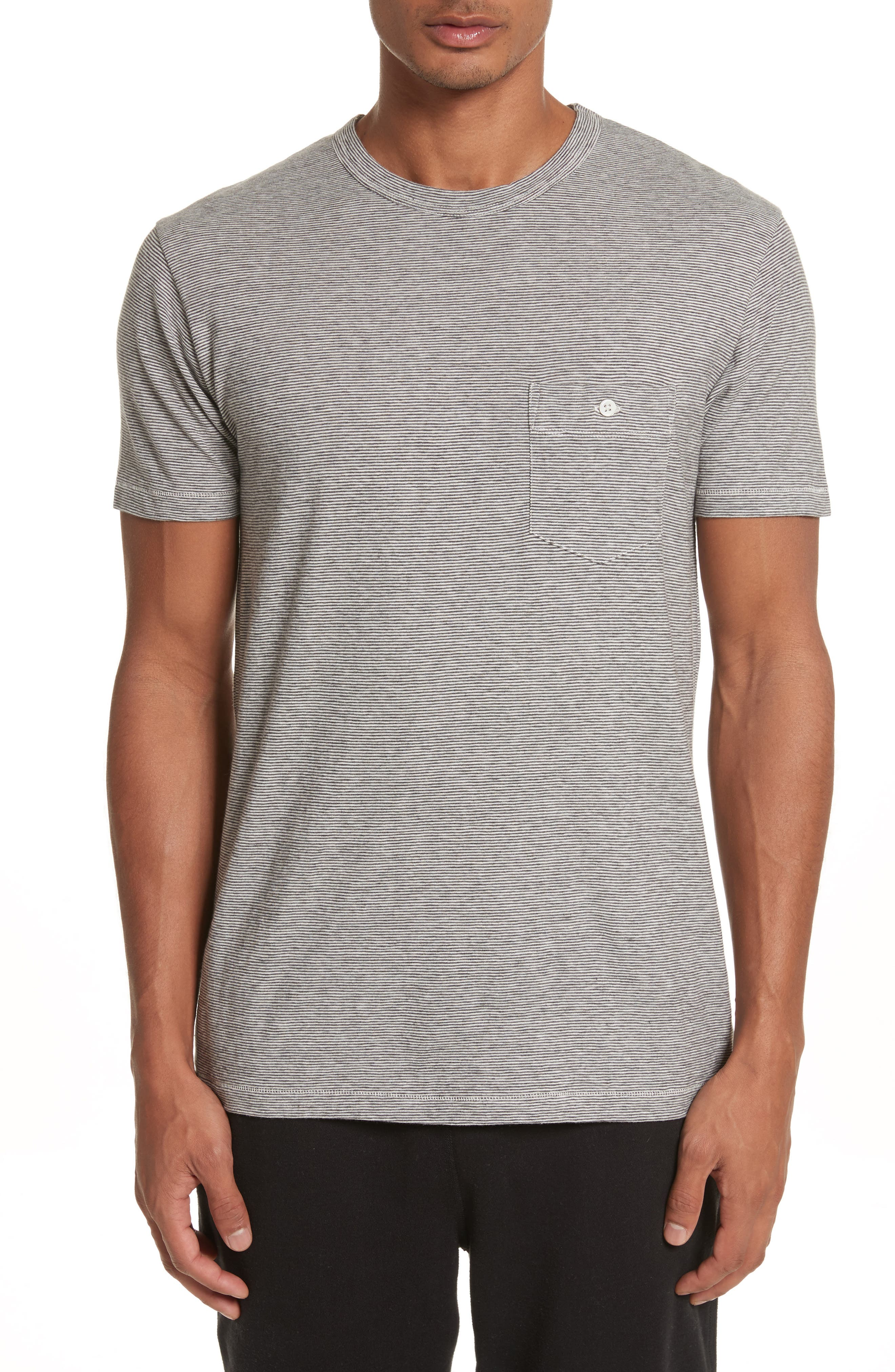 Microstripe Pocket T-Shirt,                         Main,                         color, Ivory