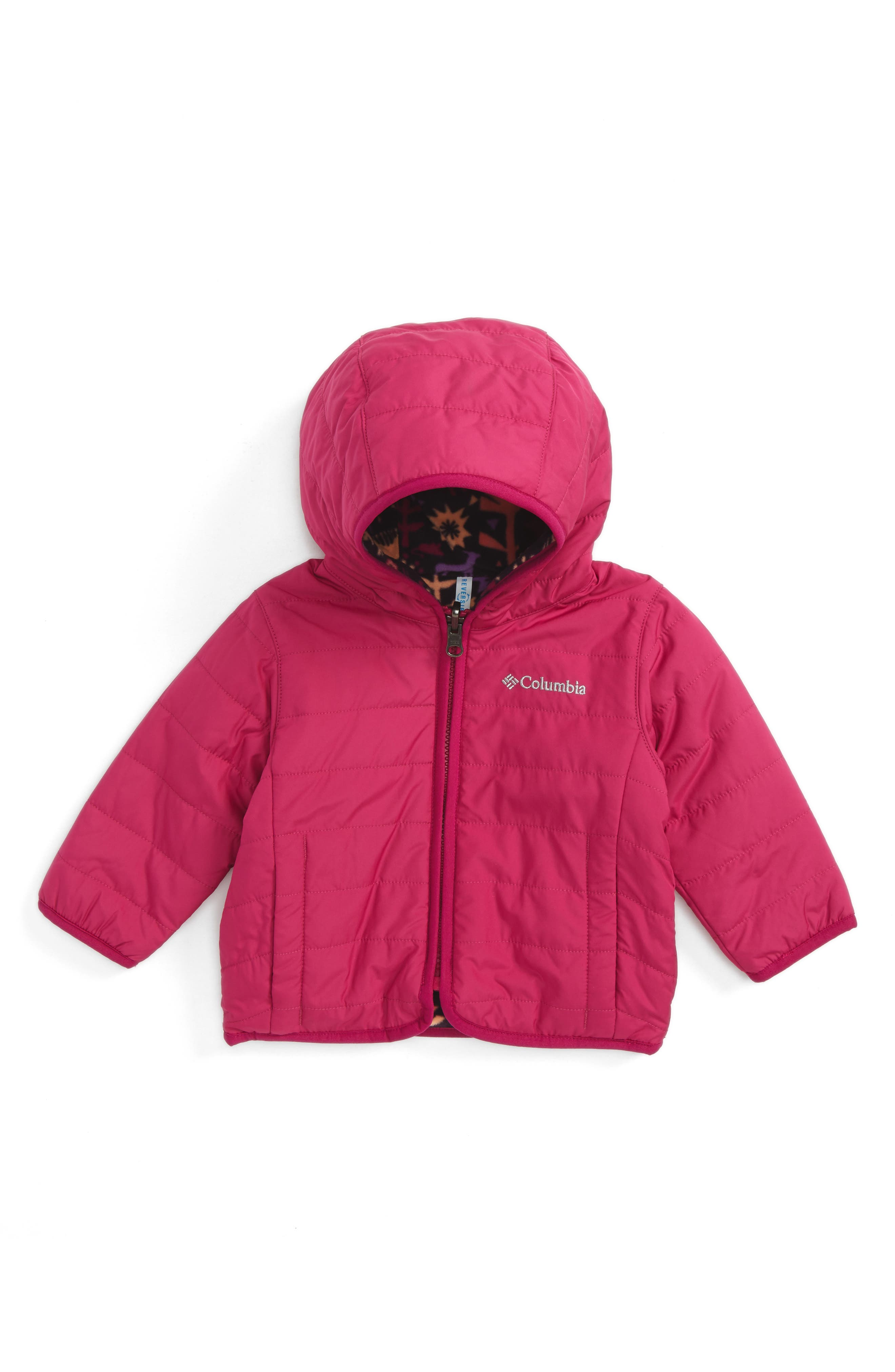 Double Trouble Reversible Water-Resistant Hooded Jacket,                         Main,                         color, Deep Blush Critters