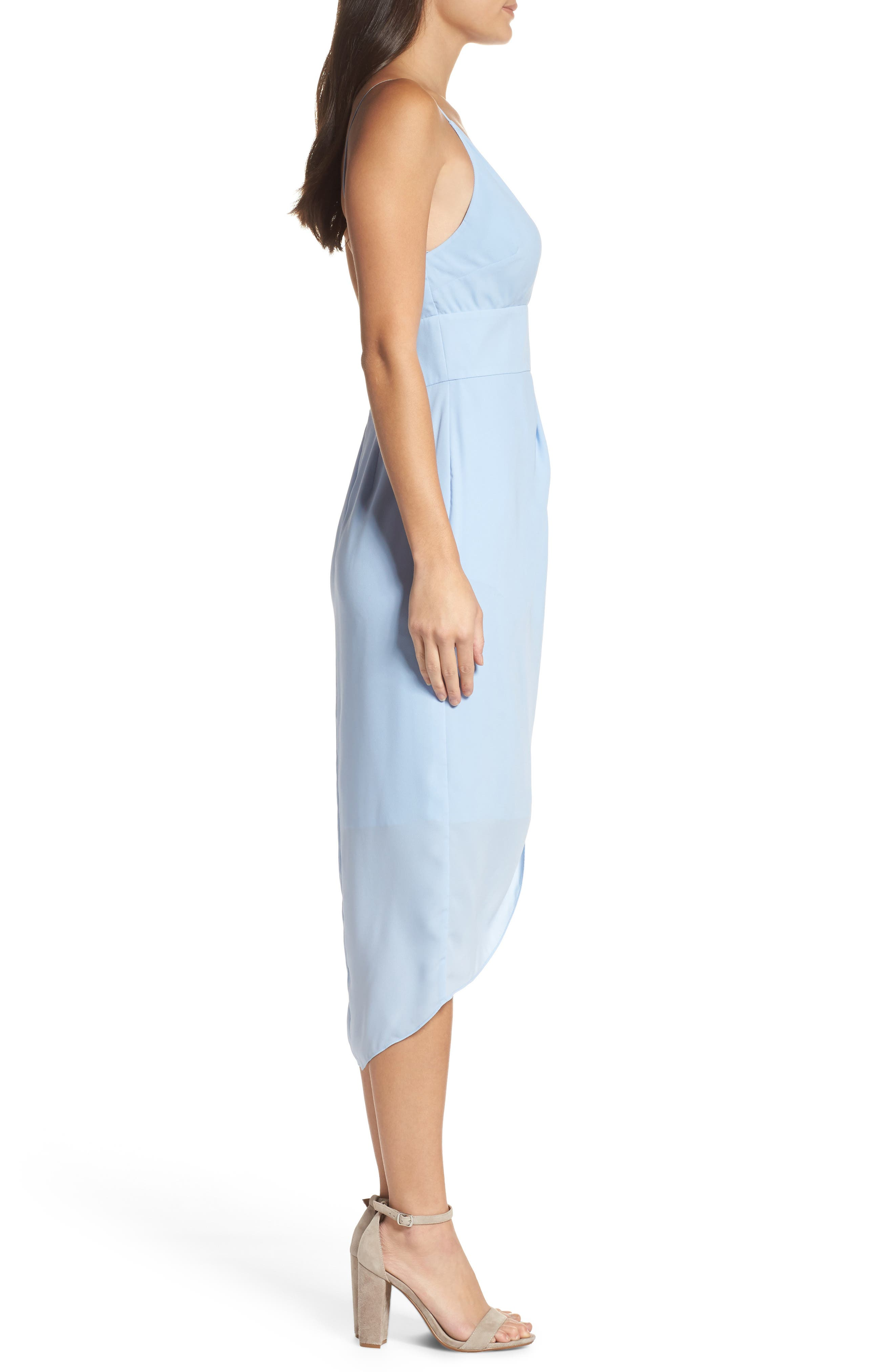 Lily Drape Sheath Dress,                             Alternate thumbnail 3, color,                             Pale Blue