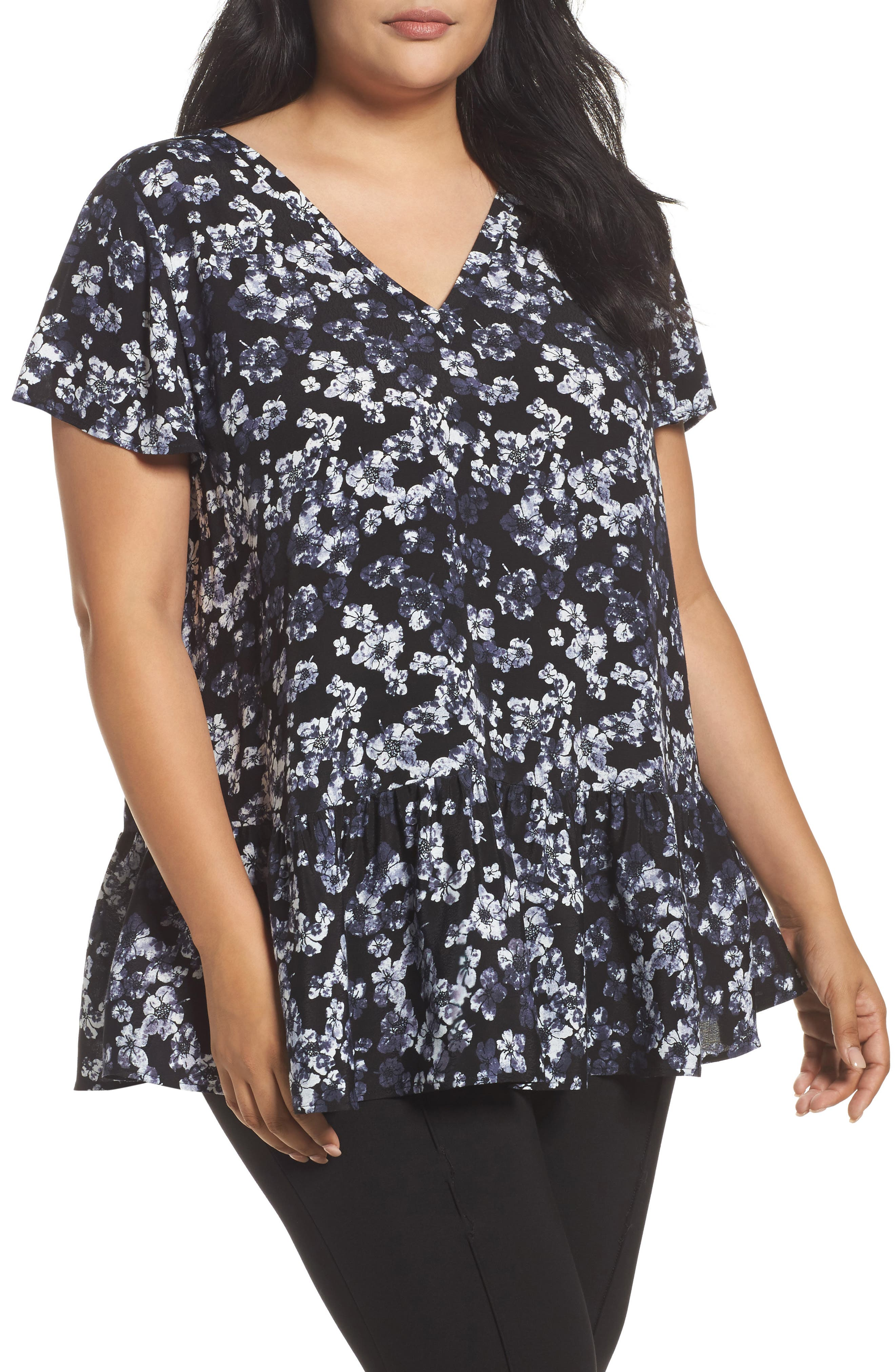V-Neck Peplum Top,                             Main thumbnail 1, color,                             Black- Ivory Holiday Floral