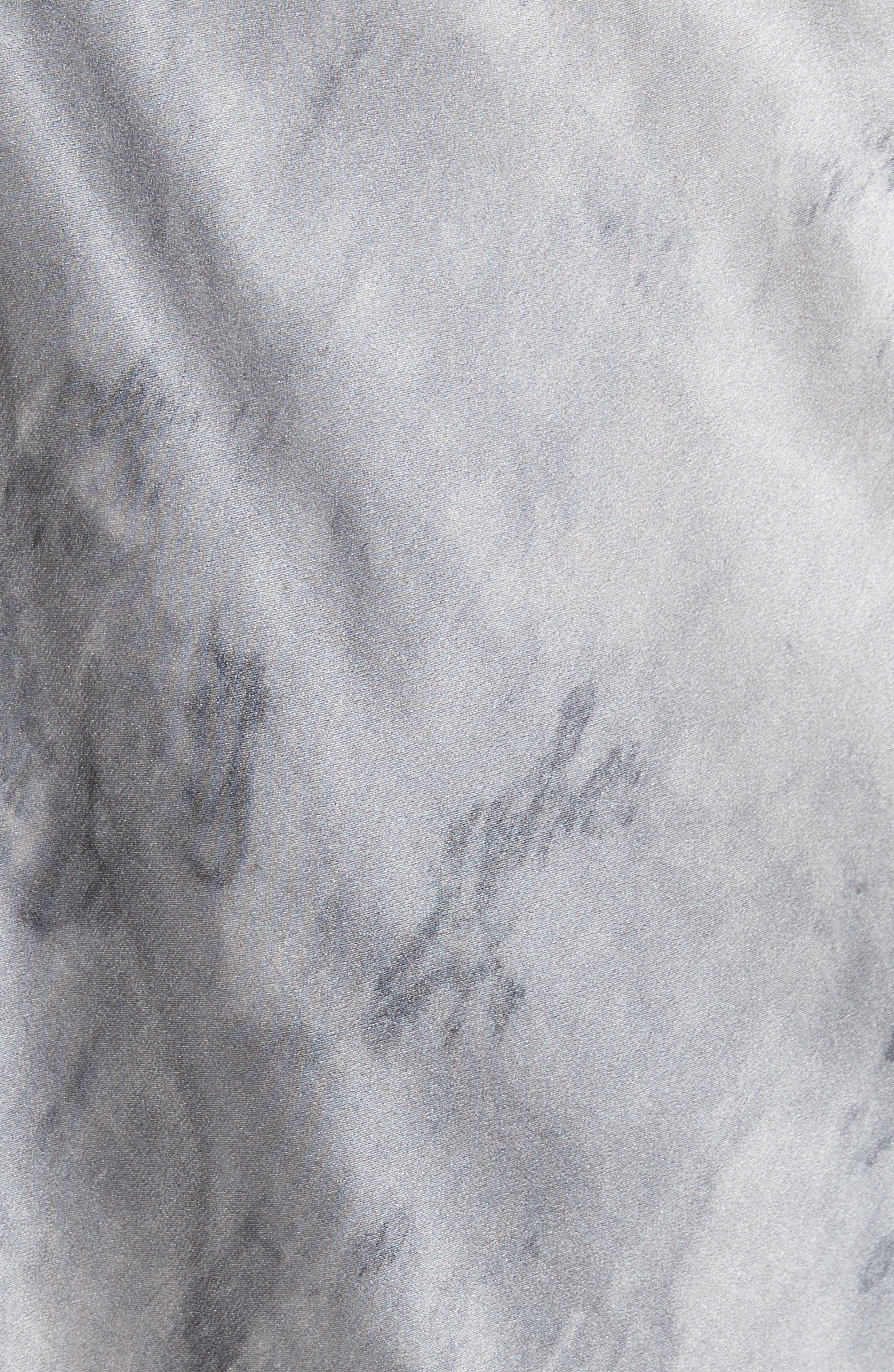 Watercolor Marble Silk Midi Dress,                             Alternate thumbnail 5, color,                             Dark Smoke