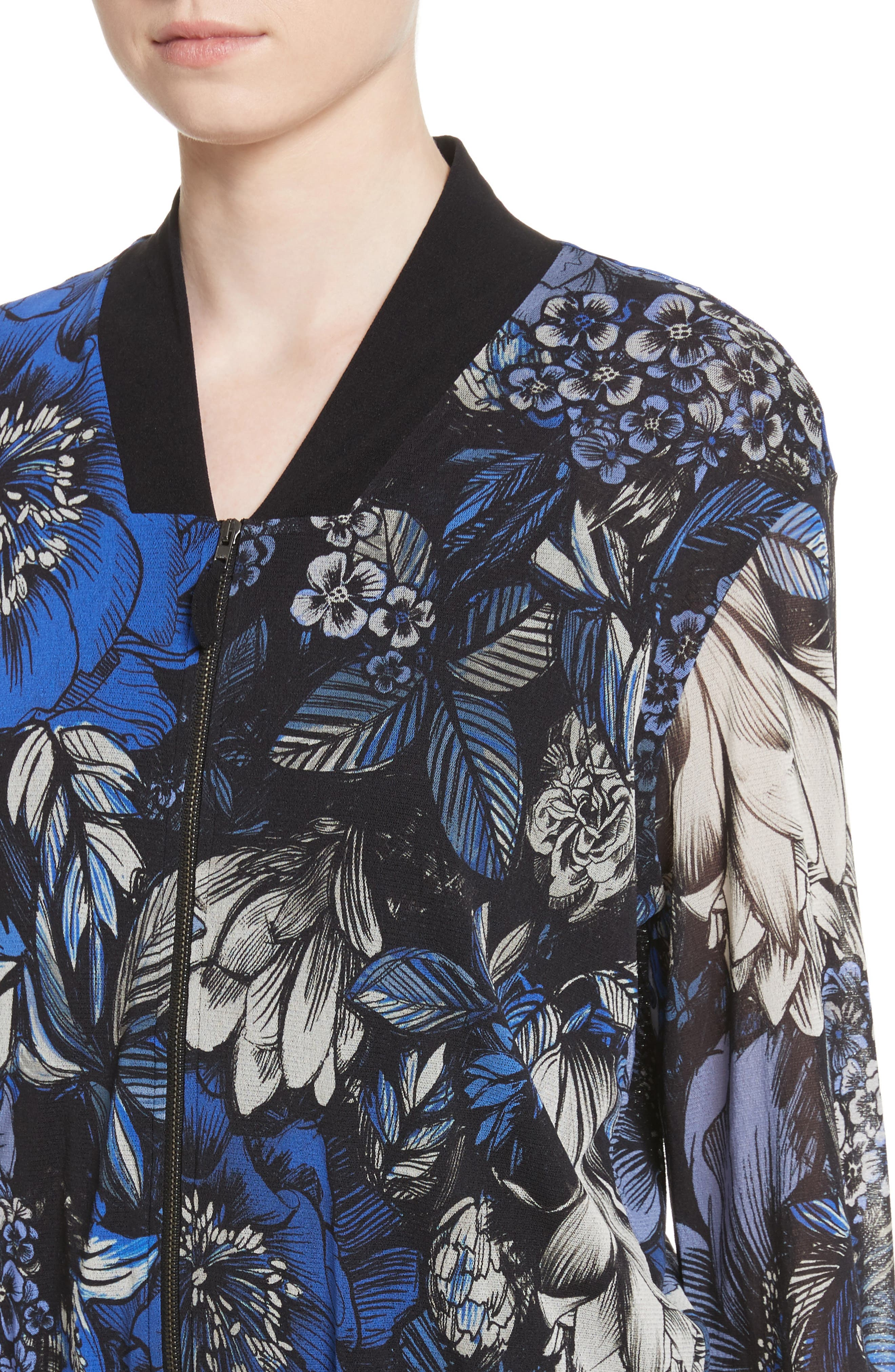 Print Tulle Bomber Jacket,                             Alternate thumbnail 4, color,                             Oltremare