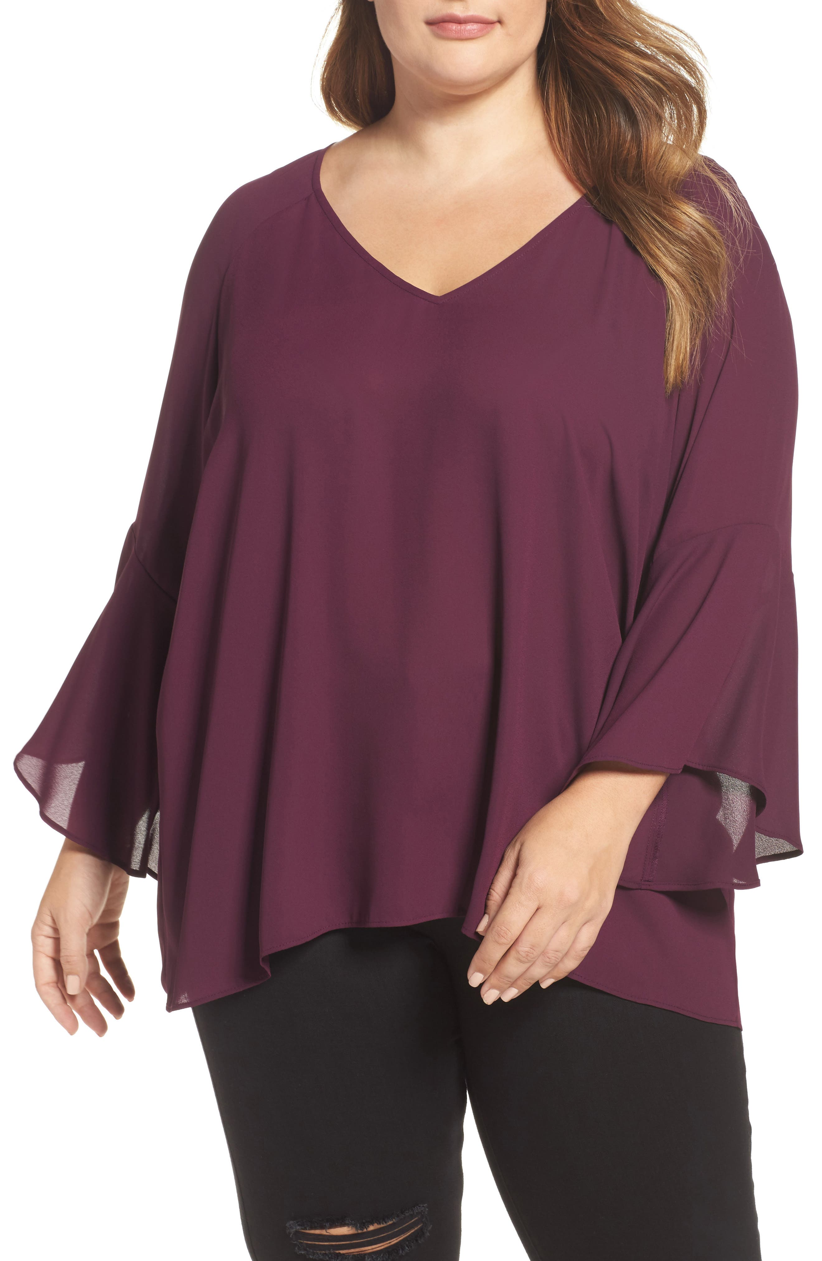 Bell Sleeve Blouse,                         Main,                         color, Eggplant