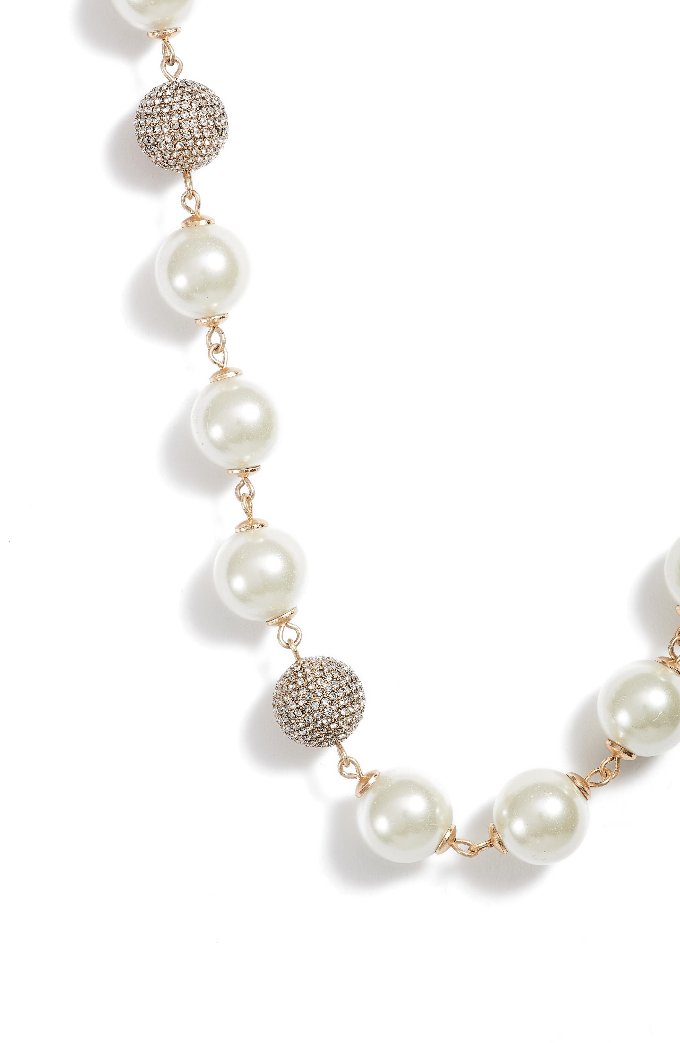 Long Imitation Pearl Necklace,                             Alternate thumbnail 2, color,                             Gold/ Pearl/ Crystal