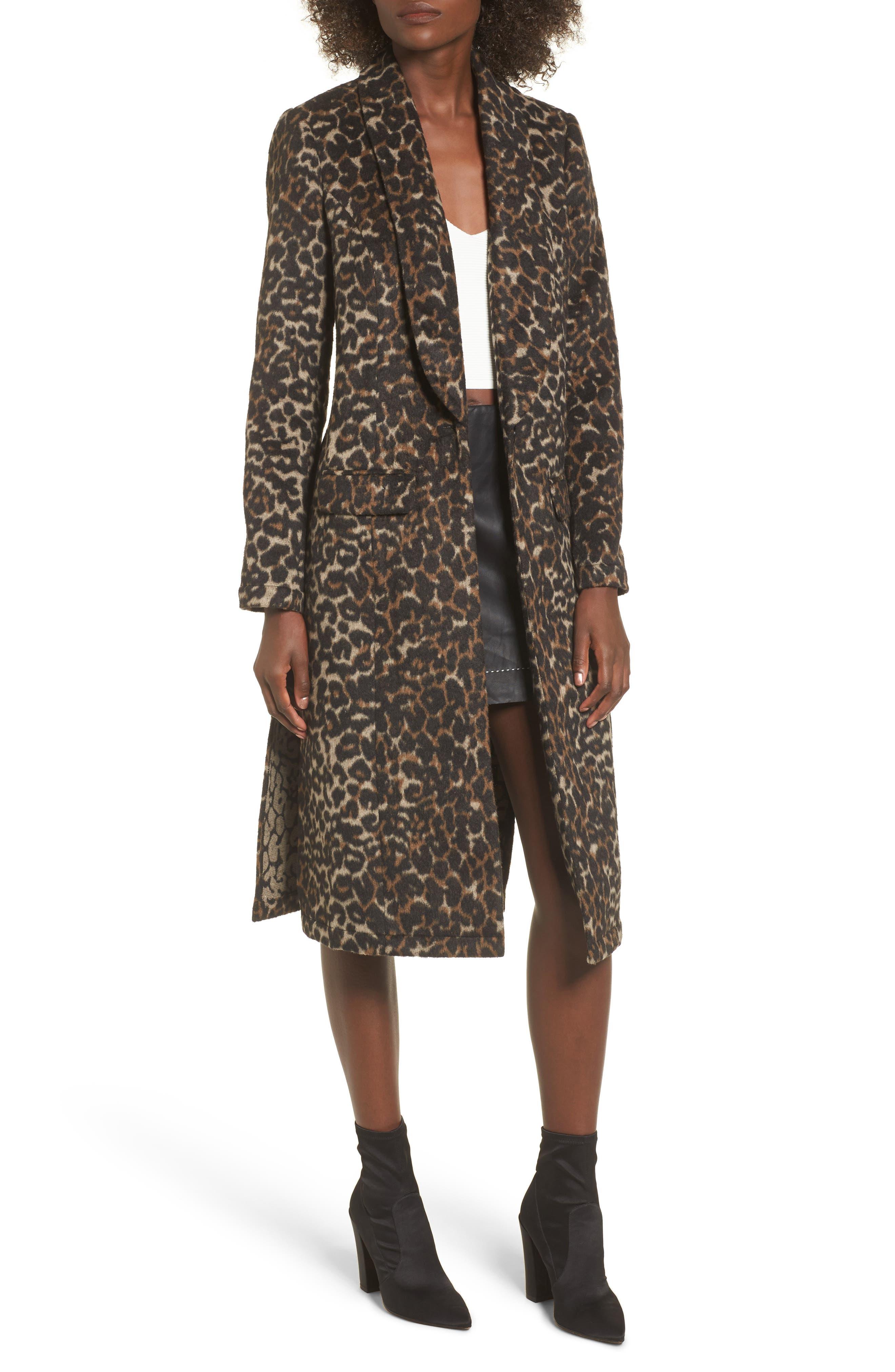Longline Leopard Print Coat,                             Main thumbnail 1, color,                             Black Leopard