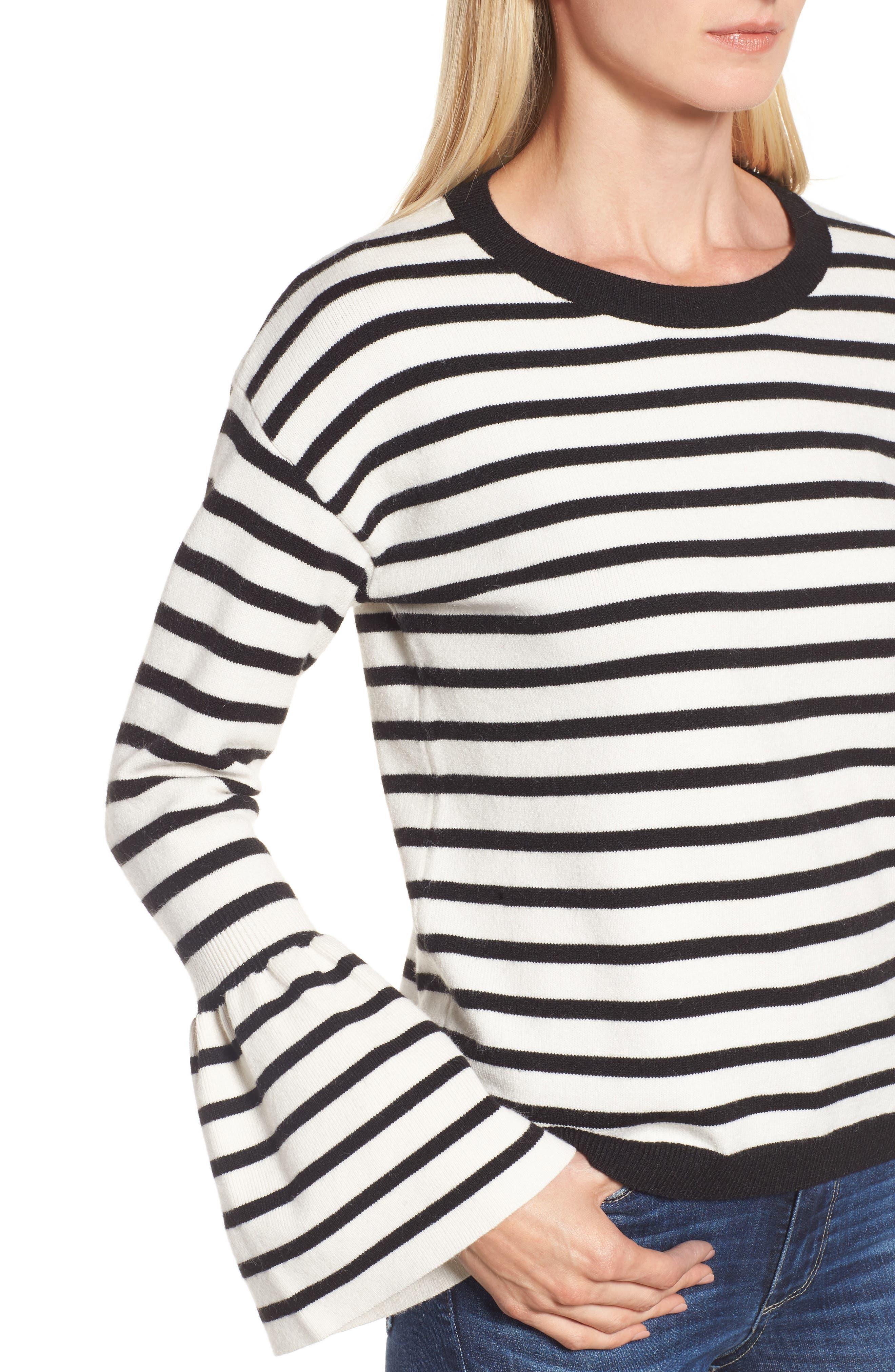 Bell Sleeve Sweater,                             Alternate thumbnail 4, color,                             Black- Ivory Stripe