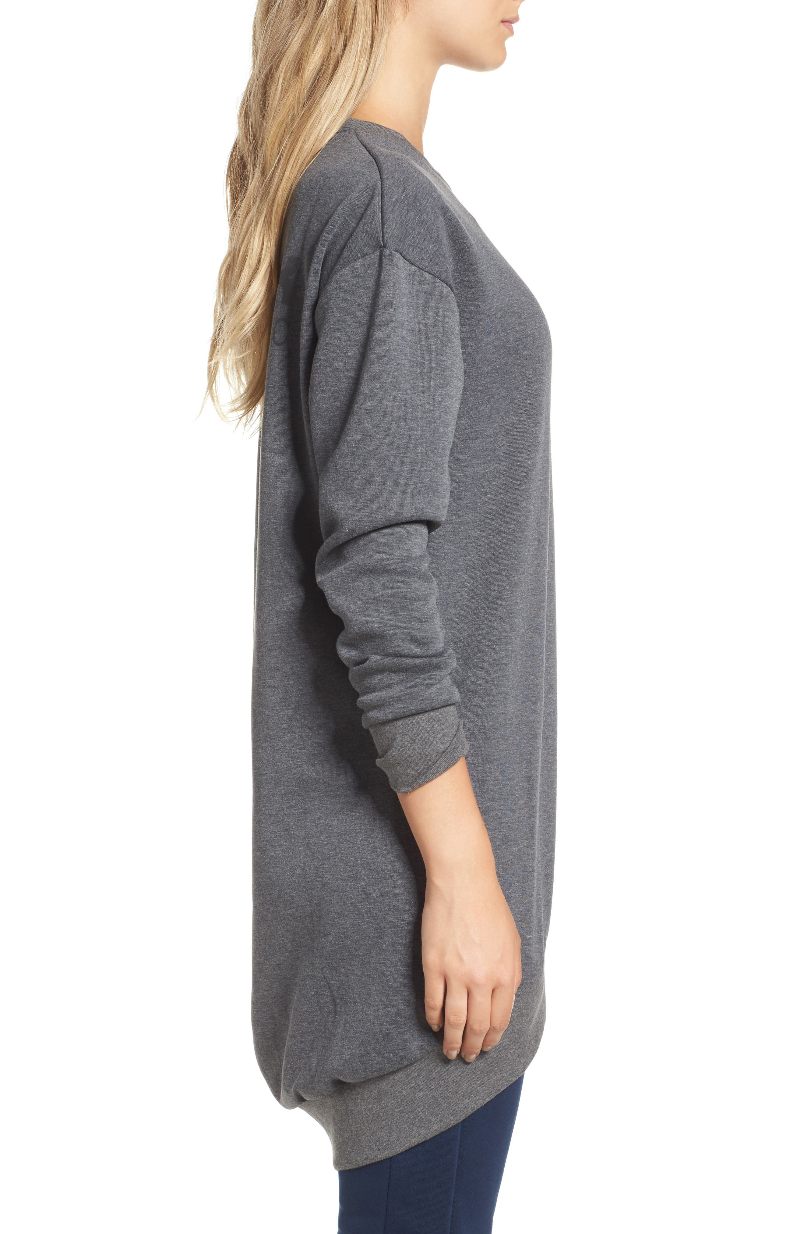Oversize Sweatshirt,                             Alternate thumbnail 3, color,                             Dark Grey Heather