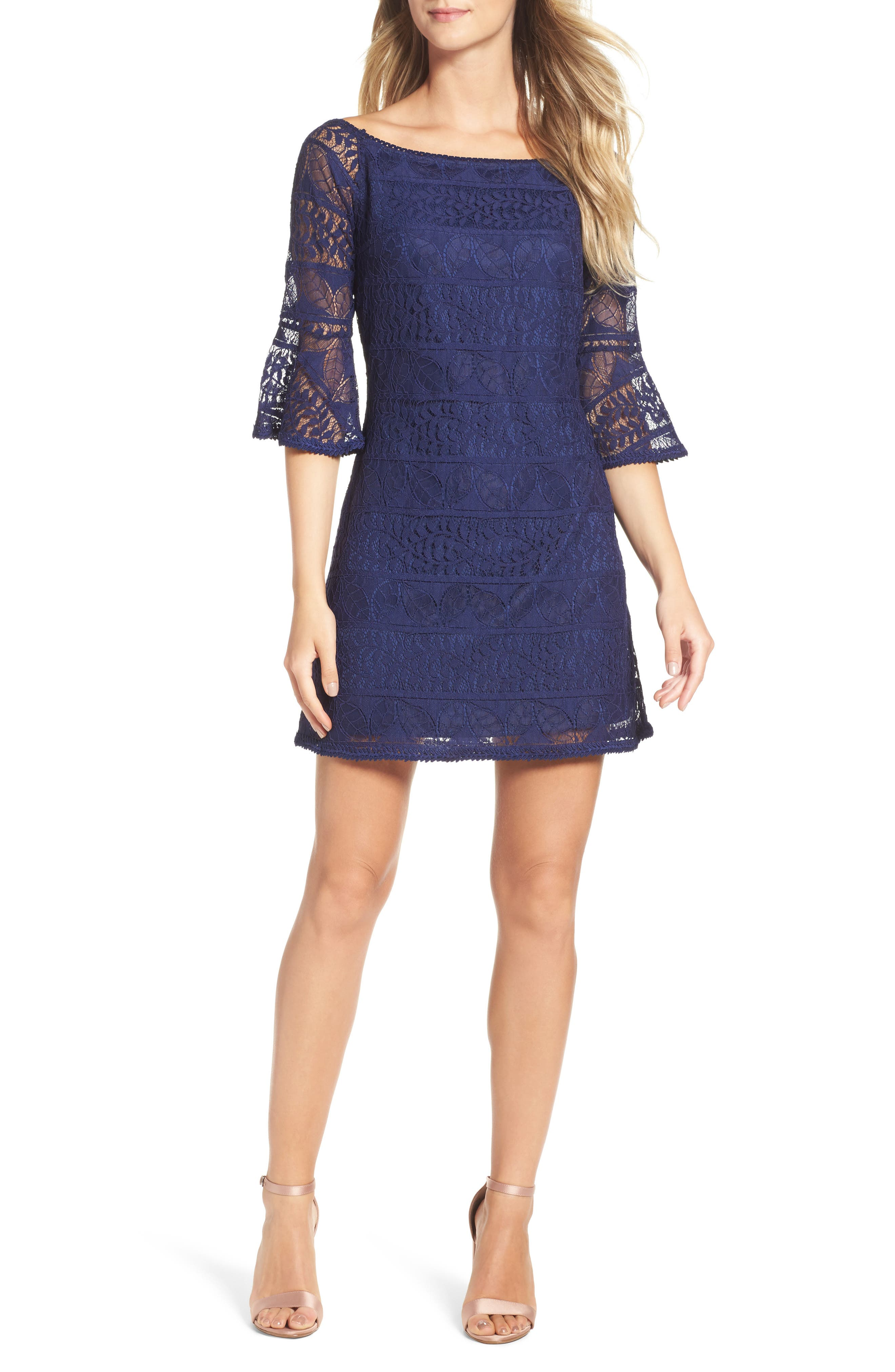 Off the Shoulder Lace Dress,                             Main thumbnail 1, color,                             Navy