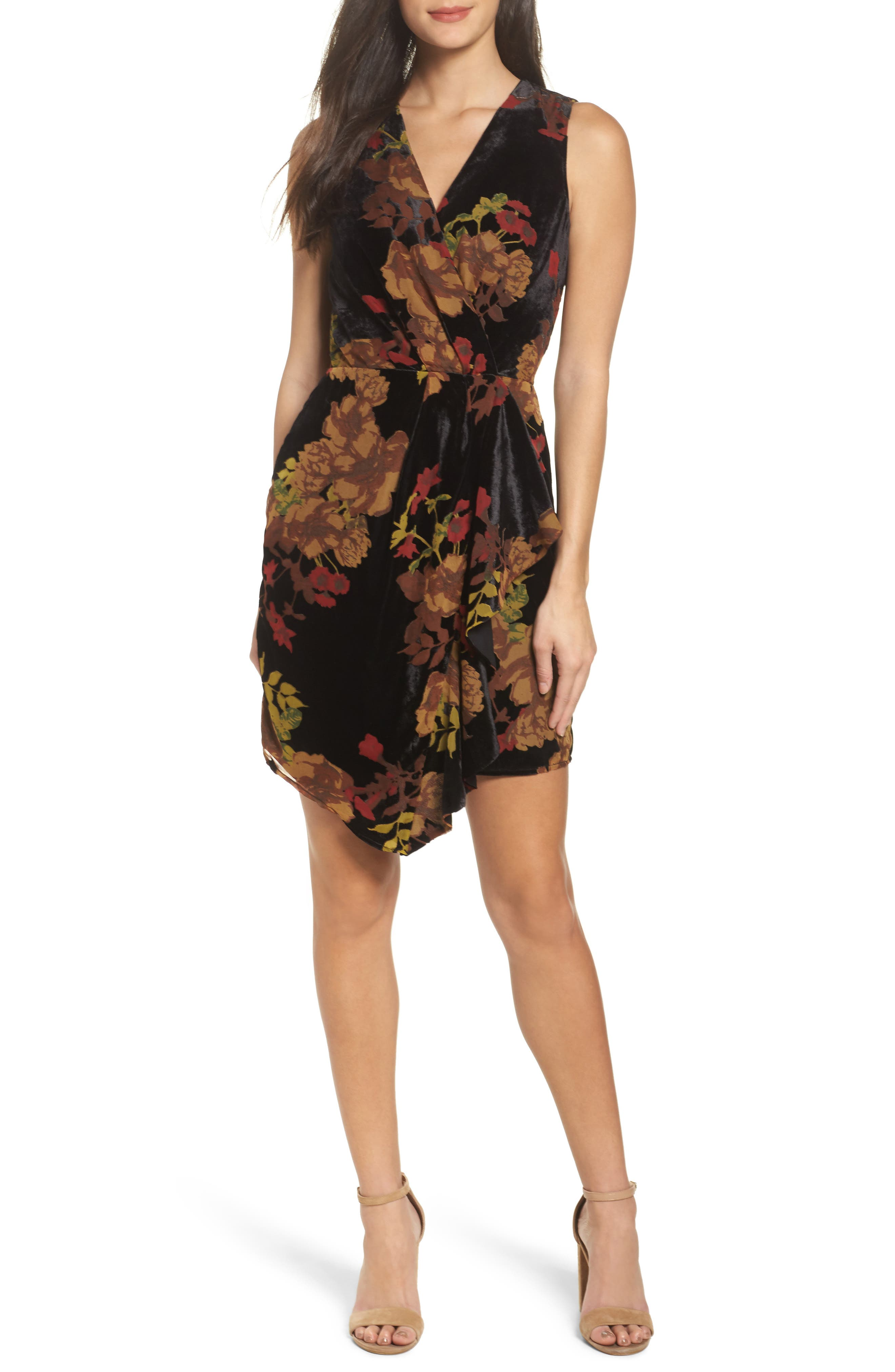 Alyse Faux Wrap Velvet Dress,                         Main,                         color, Black Multi