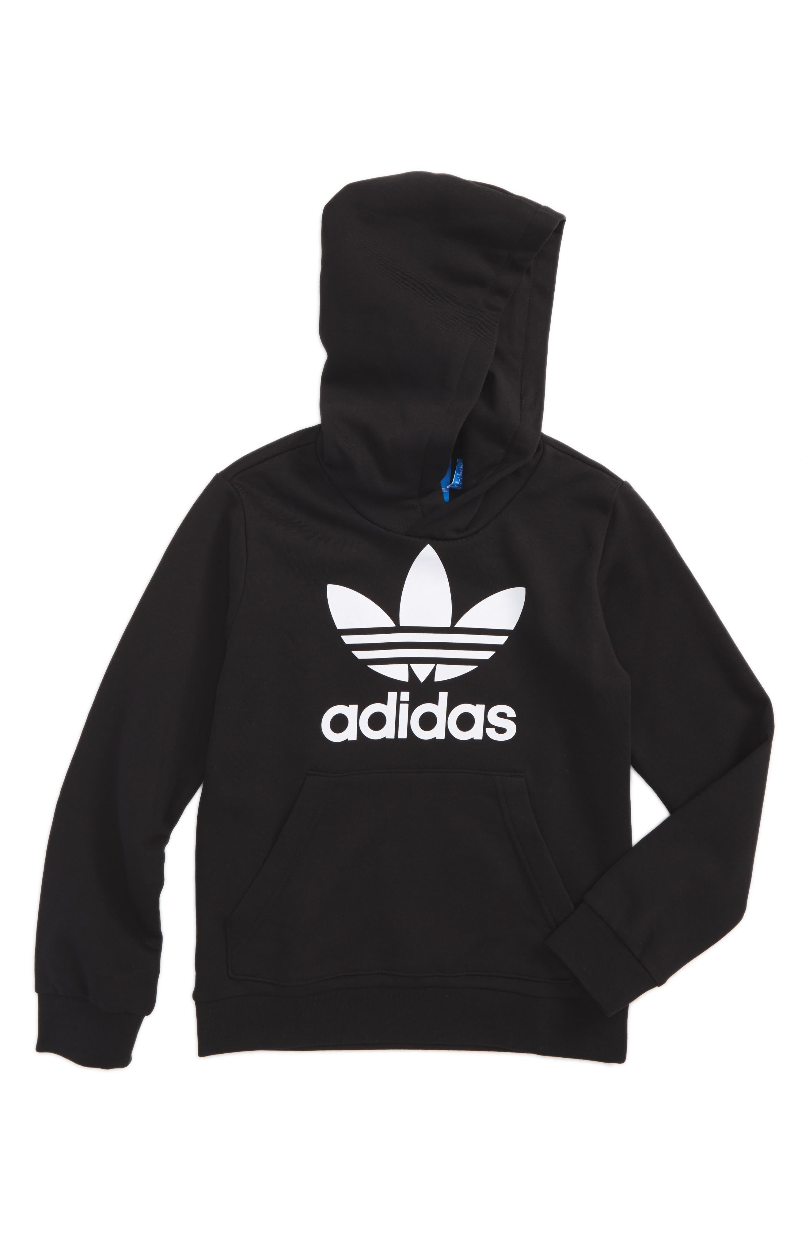 adidas Originals Trefoil Logo Hoodie (Big Girls). BLACK/ WHITE ...
