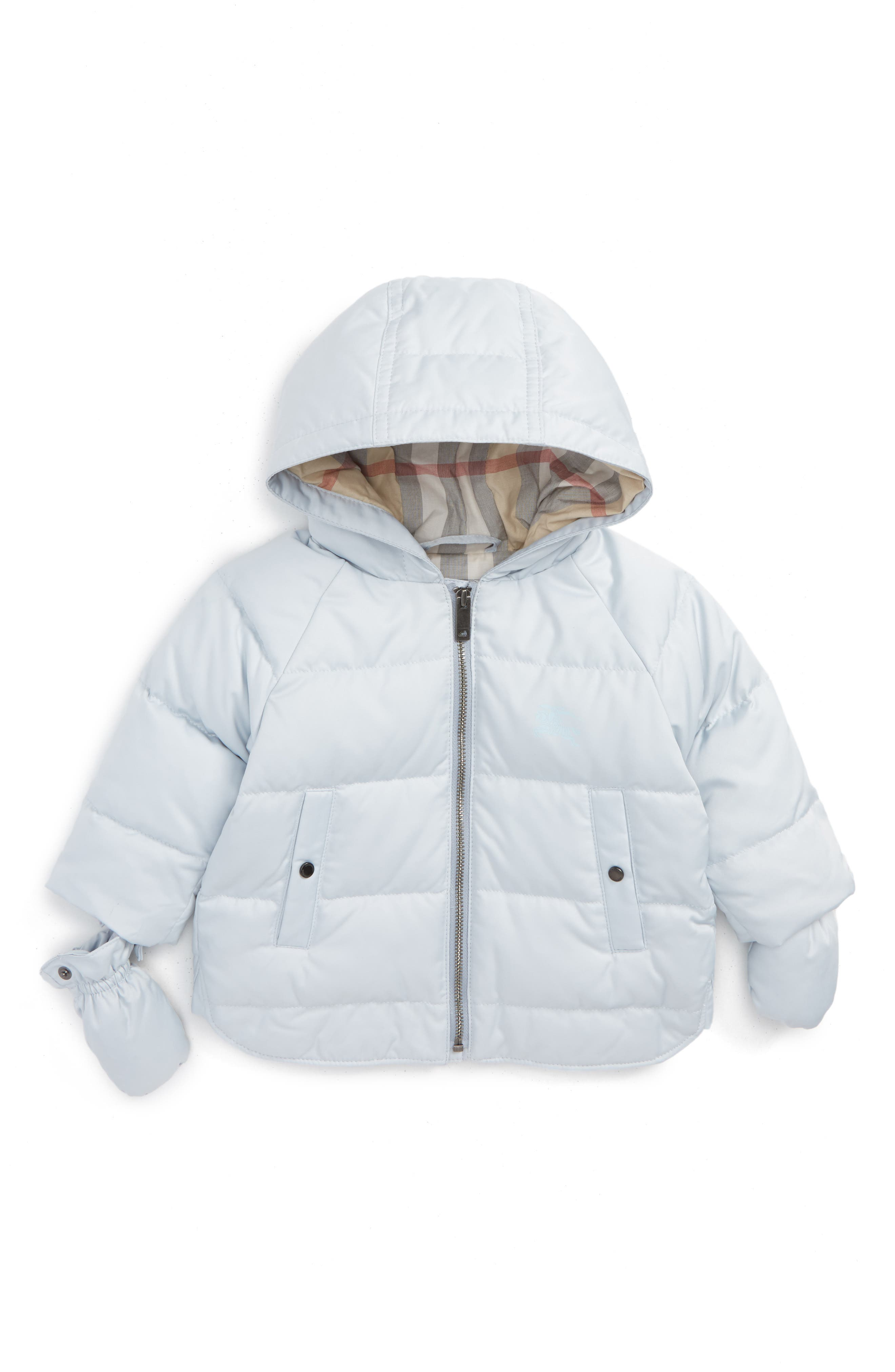 Alternate Image 1 Selected - Burberry Rilla Hooded Down Jacket (Baby)