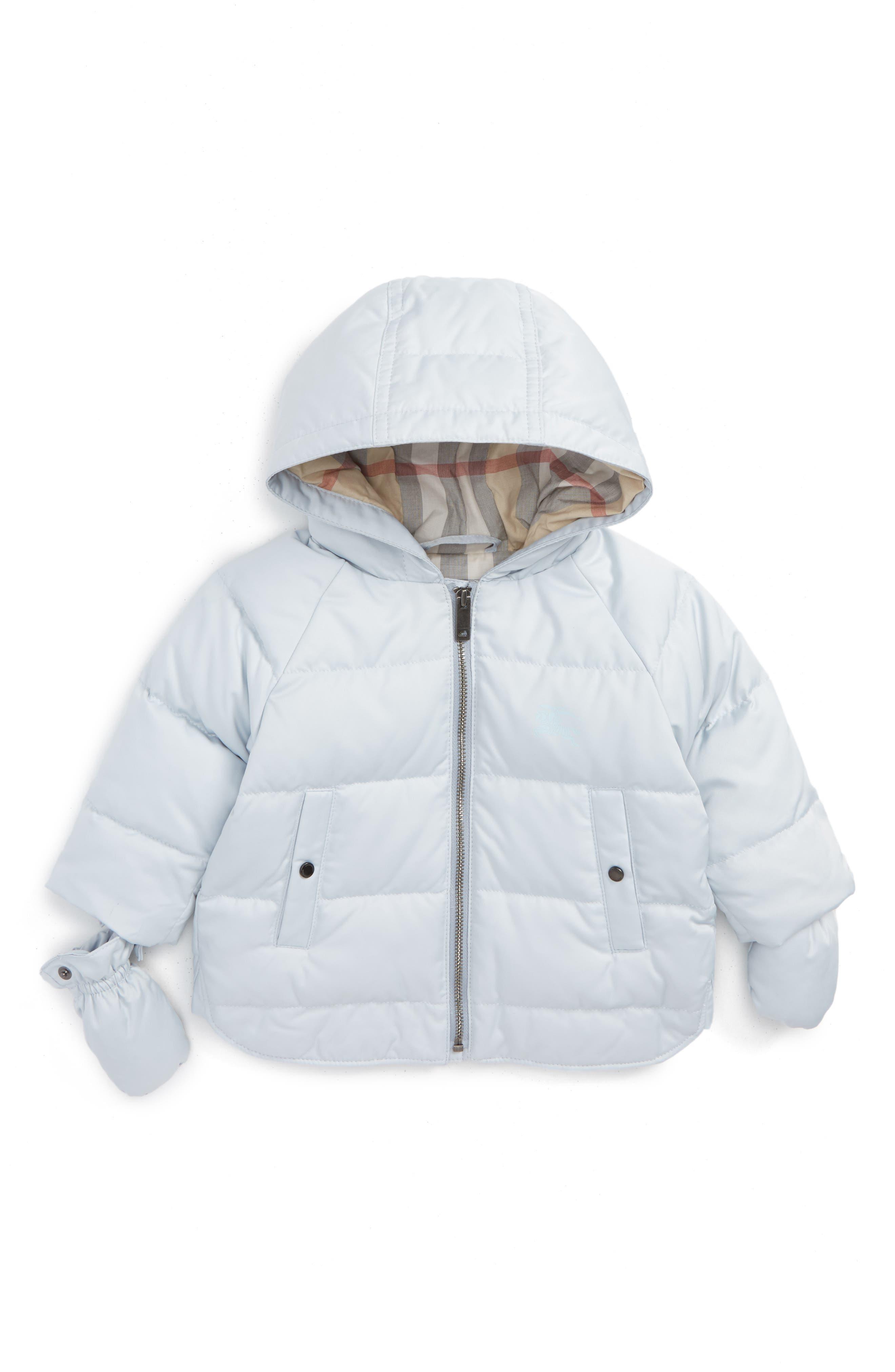 Main Image - Burberry Rilla Hooded Down Jacket (Baby)