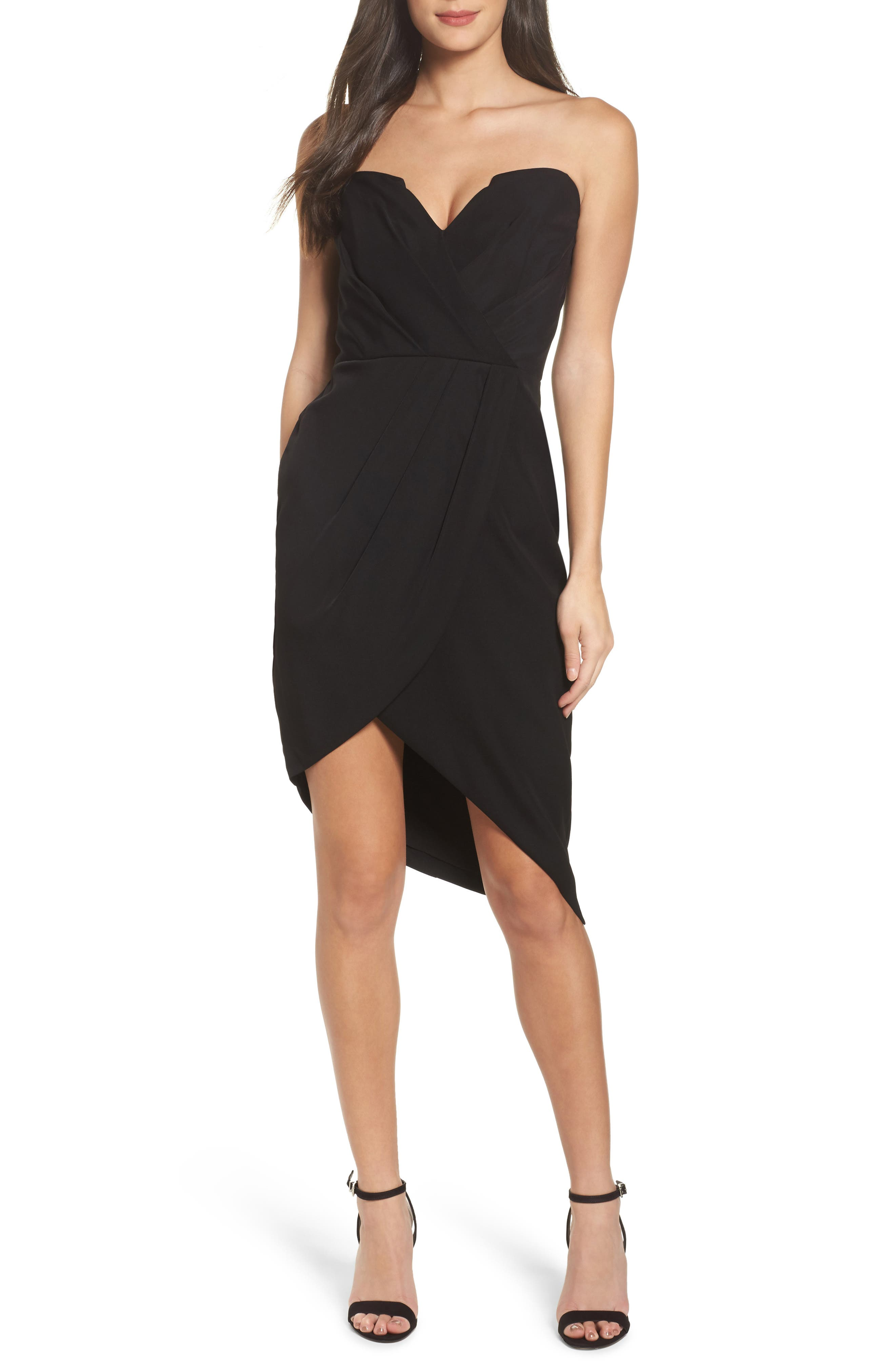 Loren Strapless Asymmetric Dress,                             Main thumbnail 1, color,                             Black