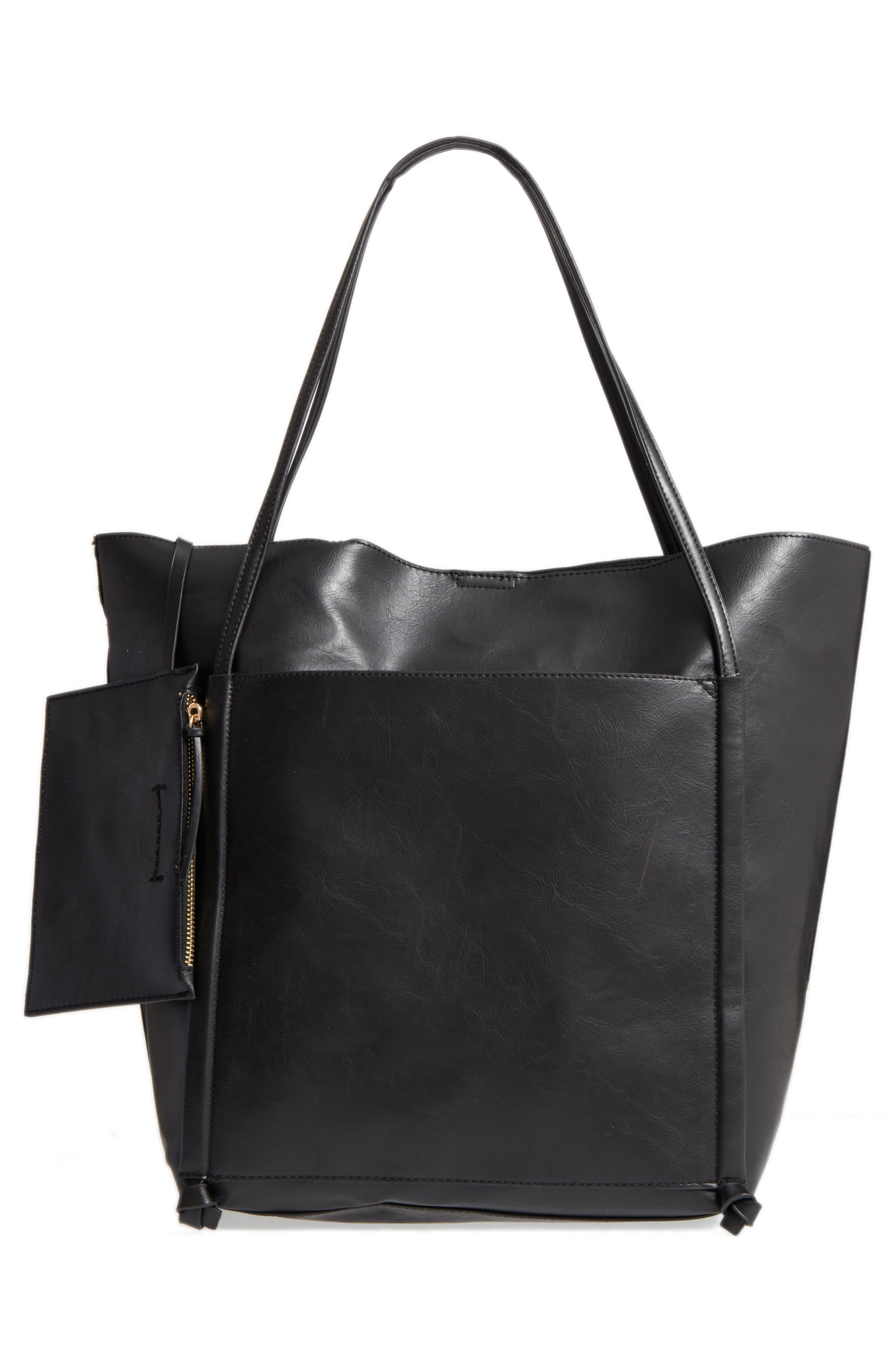 Harley Faux Leather Tote,                             Alternate thumbnail 6, color,                             Black