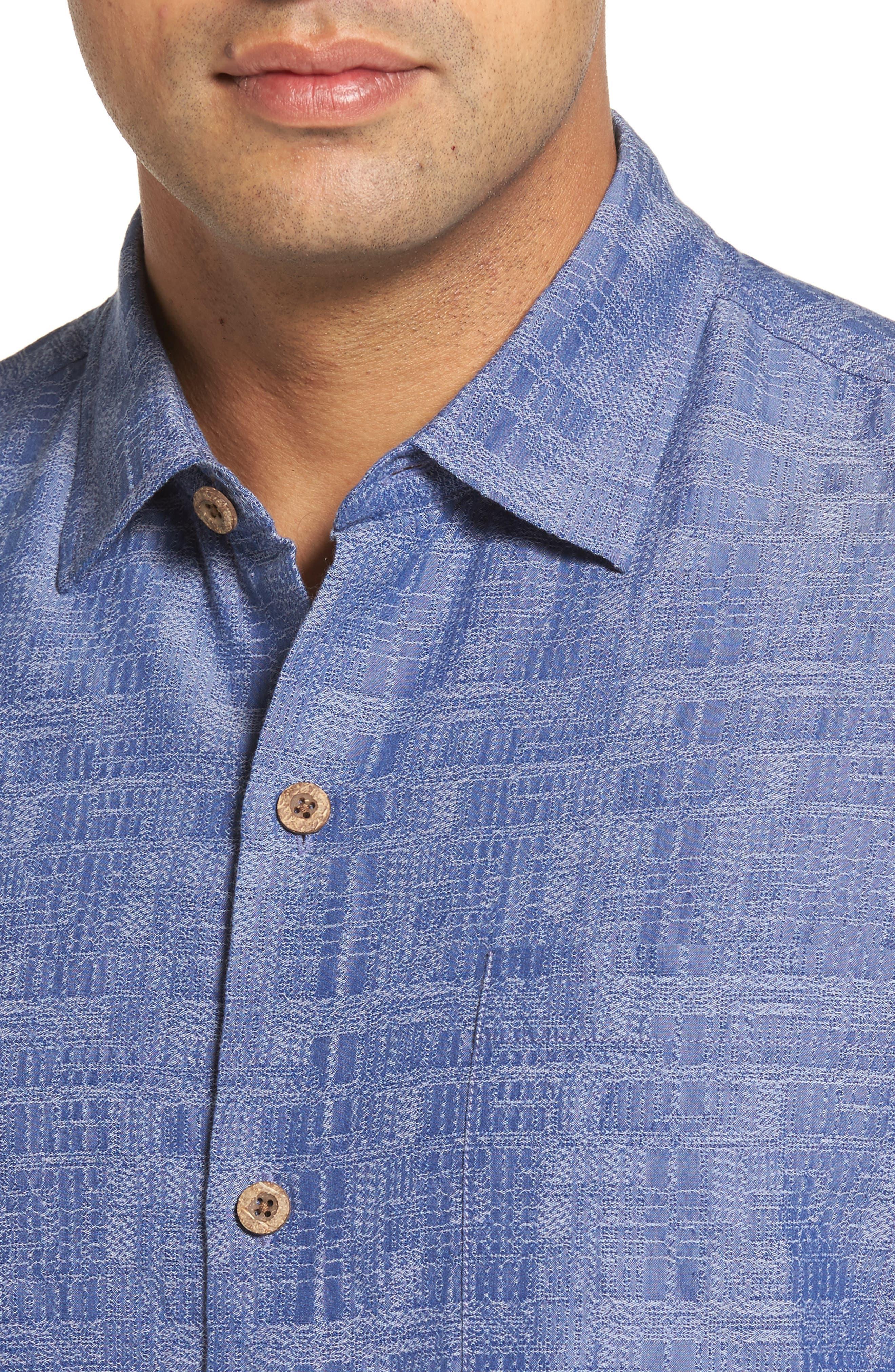 Getaway Grid Silk Blend Camp Shirt,                             Alternate thumbnail 4, color,                             Sanibel Blue