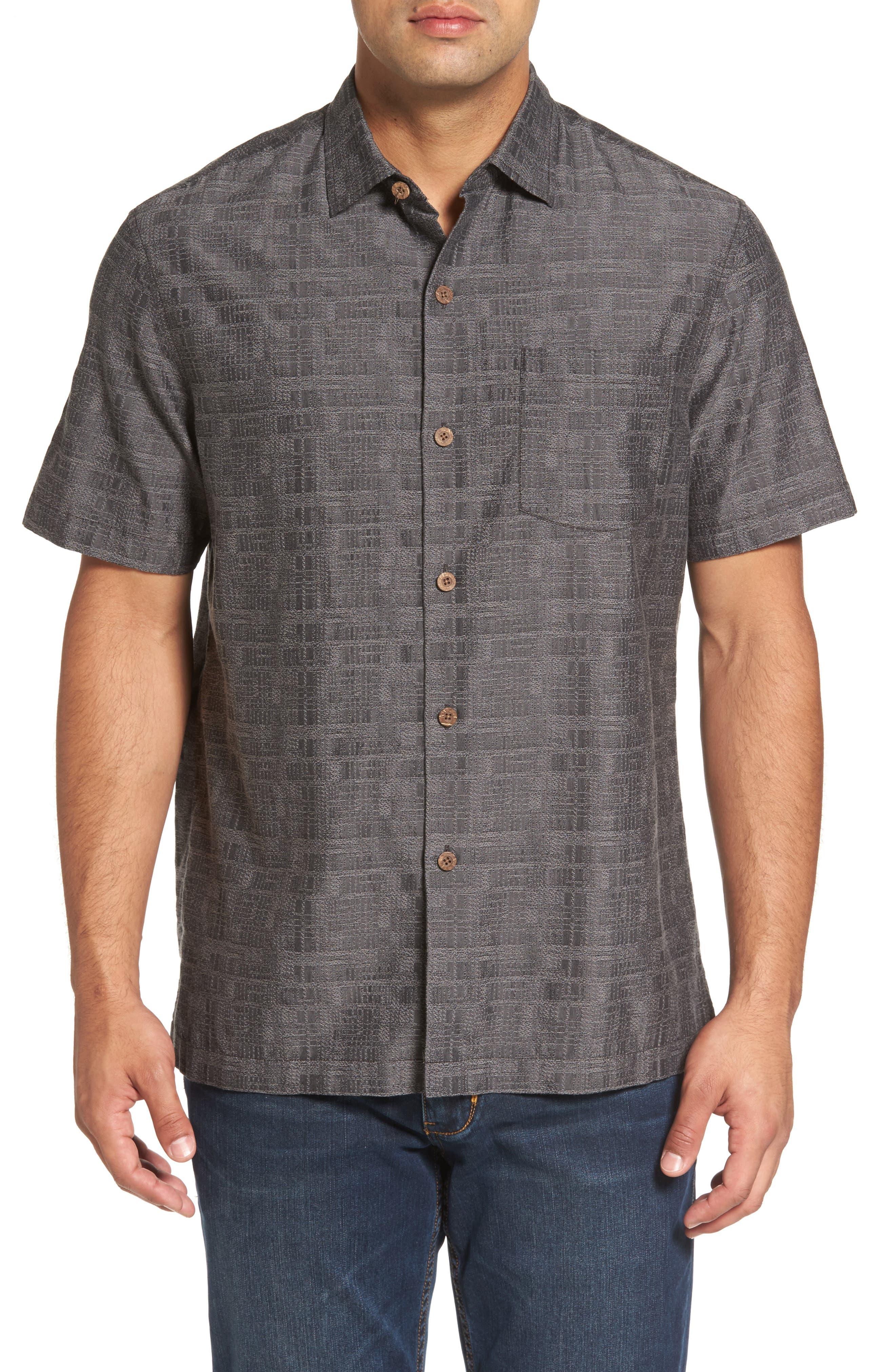 Getaway Grid Silk Blend Camp Shirt,                         Main,                         color, Jet Black