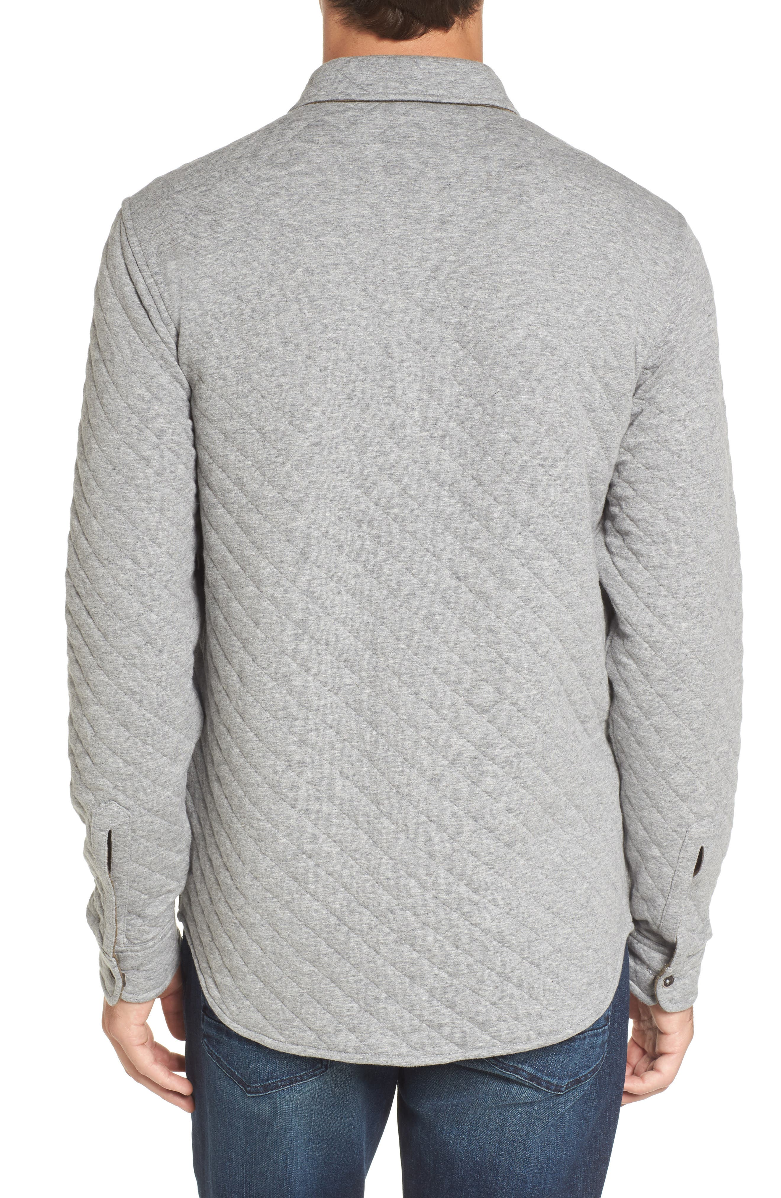 Reversible Double-Face Quilted Shirt,                             Alternate thumbnail 2, color,                             Med Grey Htr/ Army Htr Quilted
