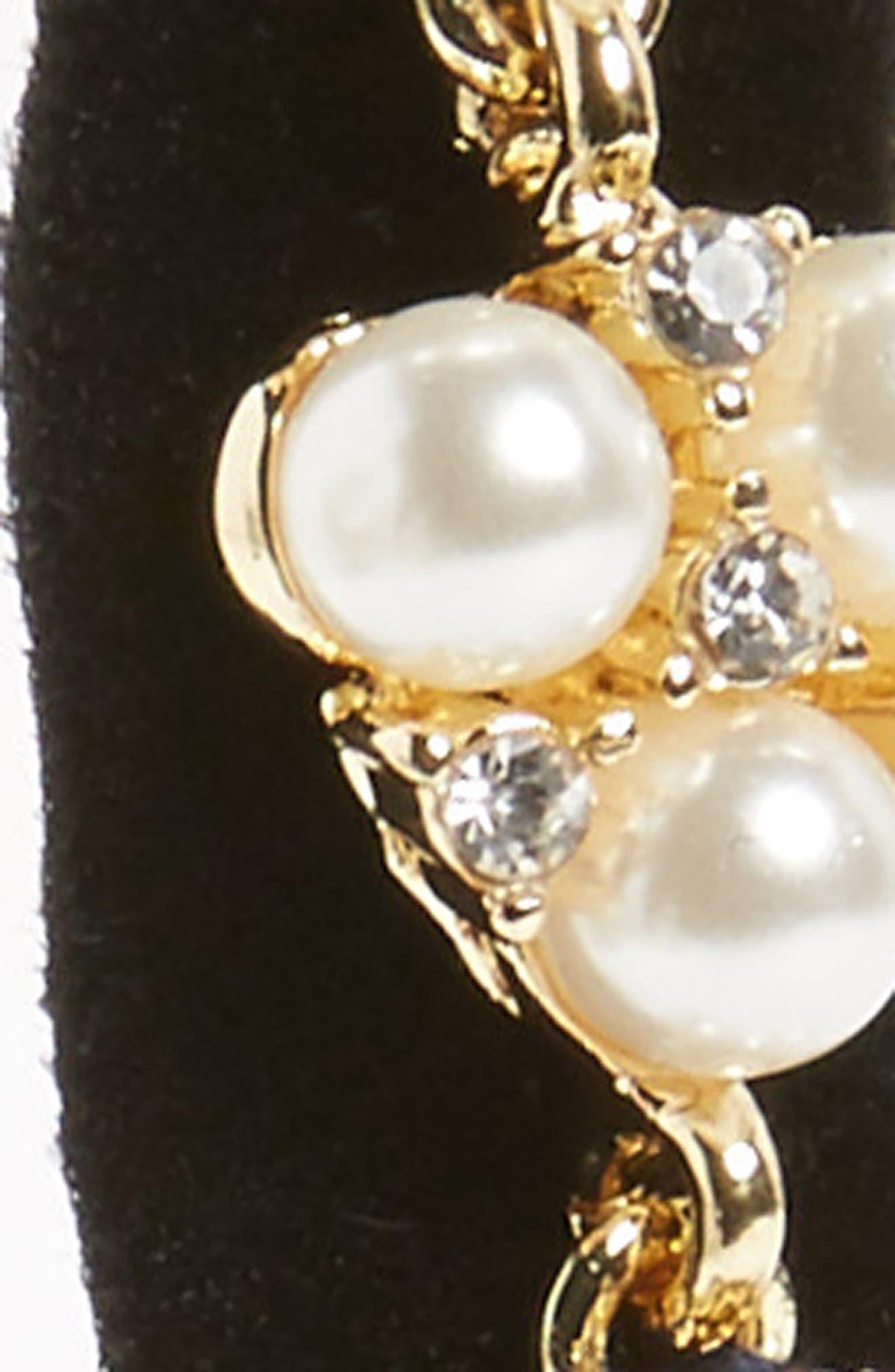 Crystal & Imitation Pearl Embellished Headwrap,                             Alternate thumbnail 2, color,                             Black