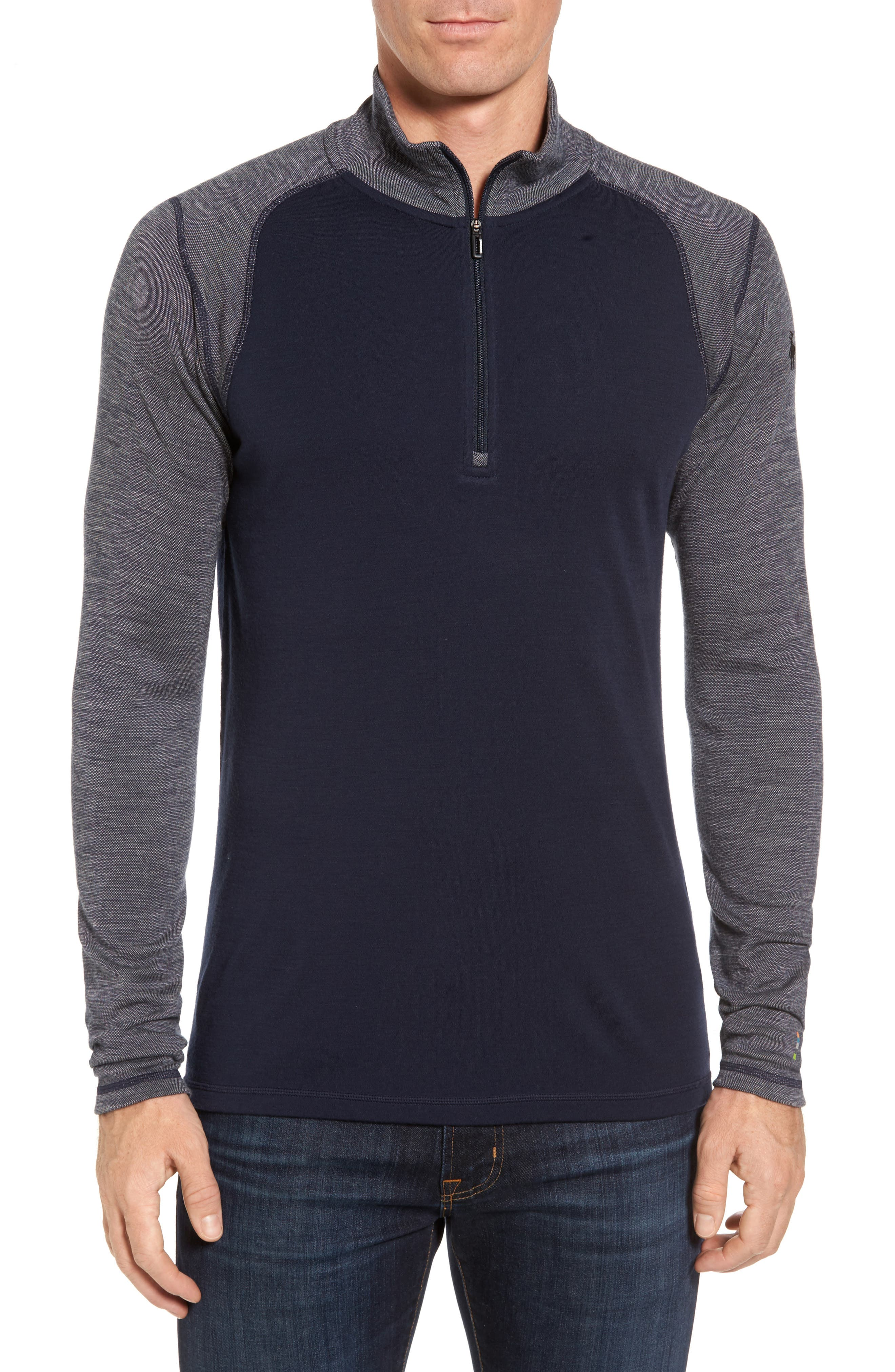 Merino 250 Base Layer Pattern Quarter Zip Pullover,                             Main thumbnail 1, color,                             Deep Navy/ Winter White