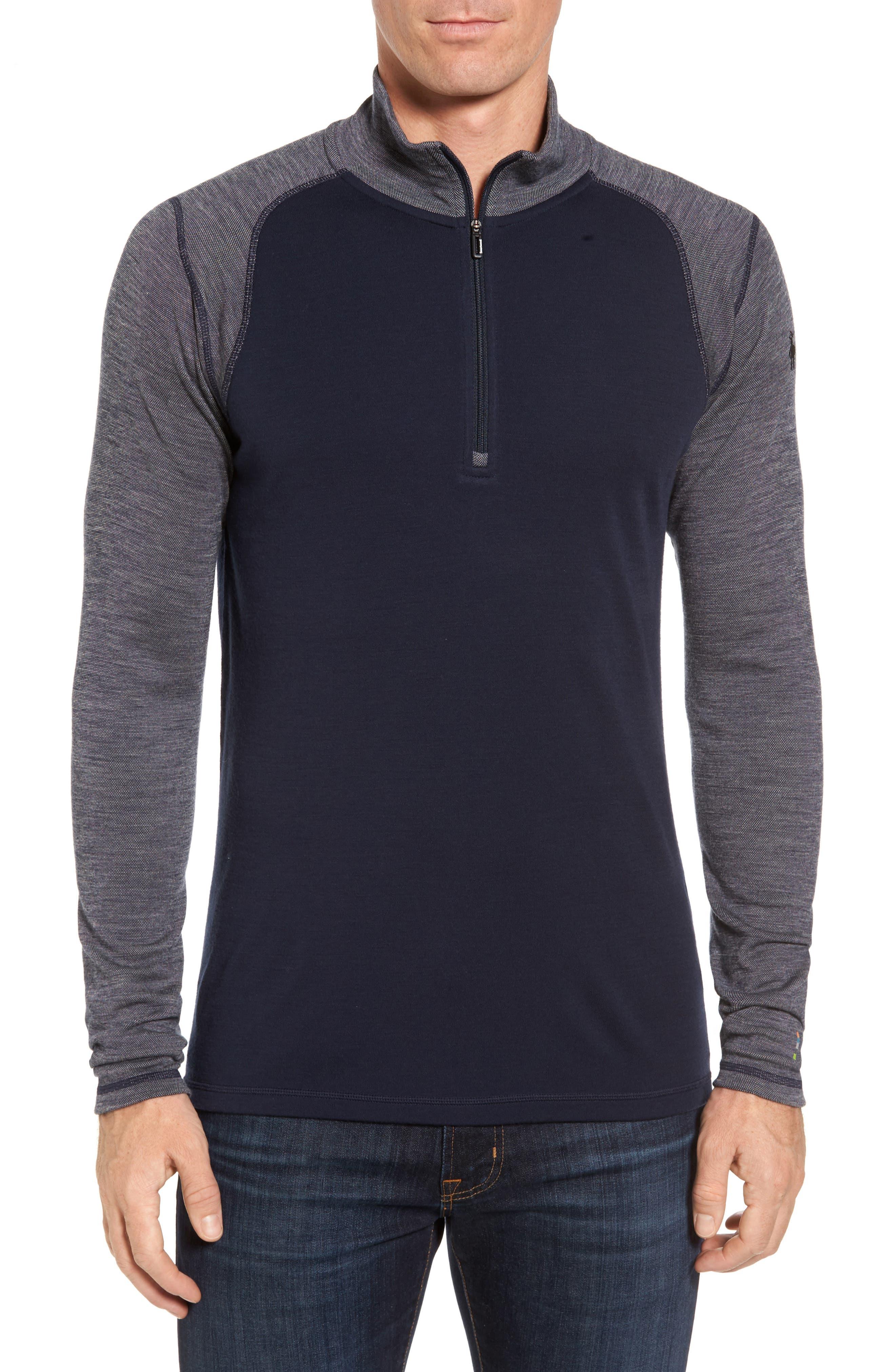 Merino 250 Base Layer Pattern Quarter Zip Pullover,                         Main,                         color, Deep Navy/ Winter White