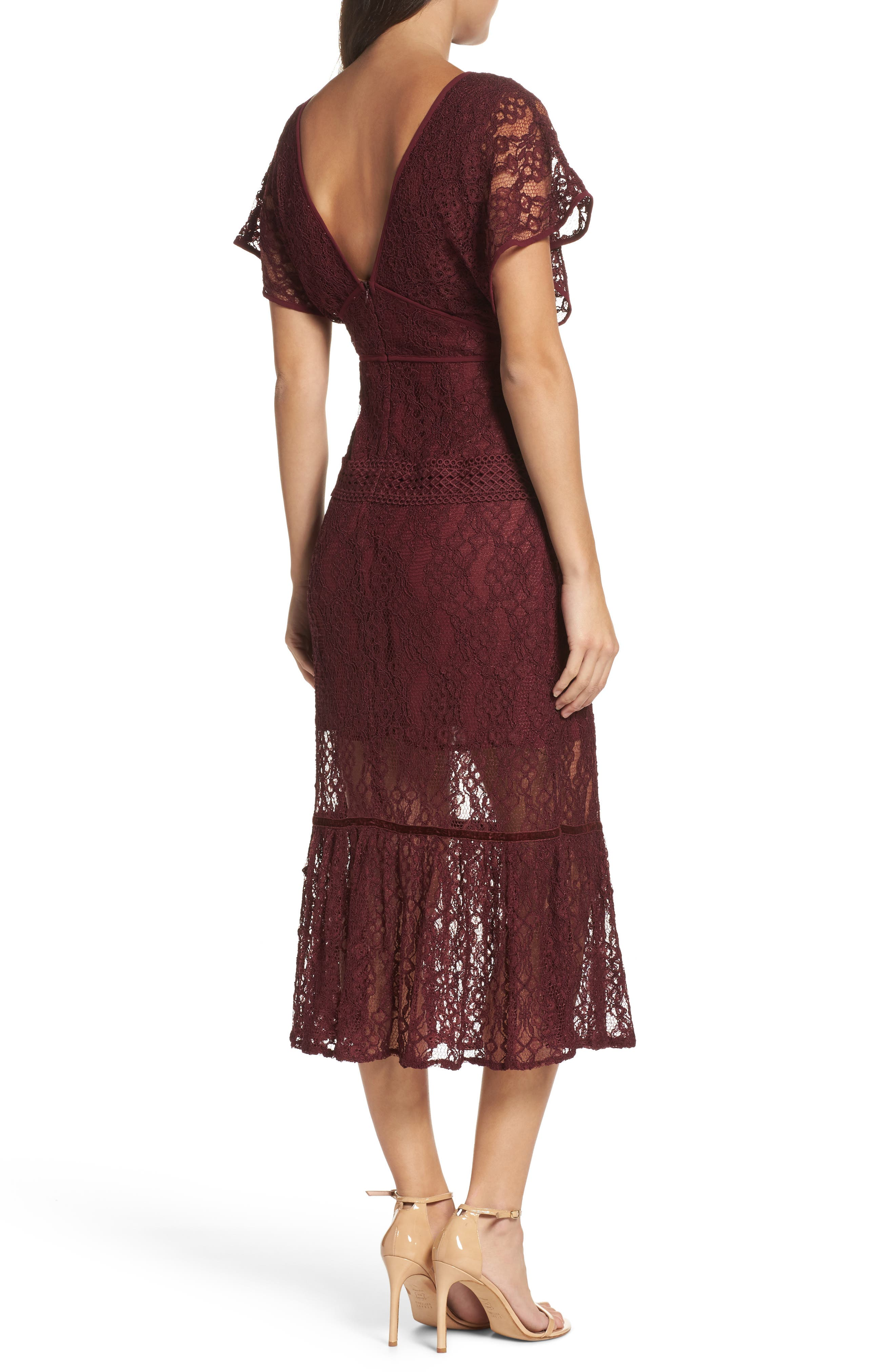 Cecila Lace Midi Dress,                             Alternate thumbnail 2, color,                             Burgundy