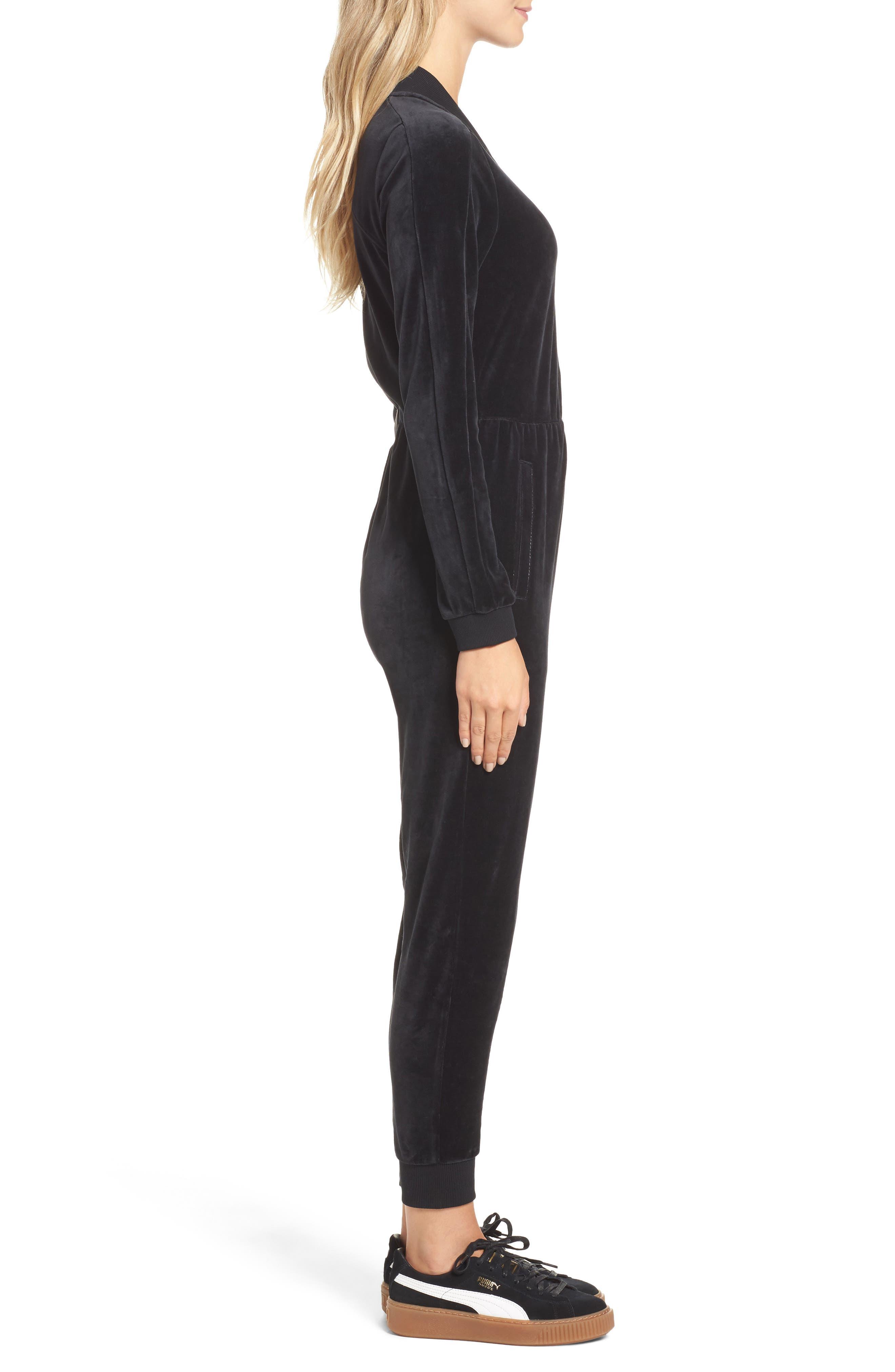 Velour T7 Jumpsuit,                             Alternate thumbnail 3, color,                             Puma Black