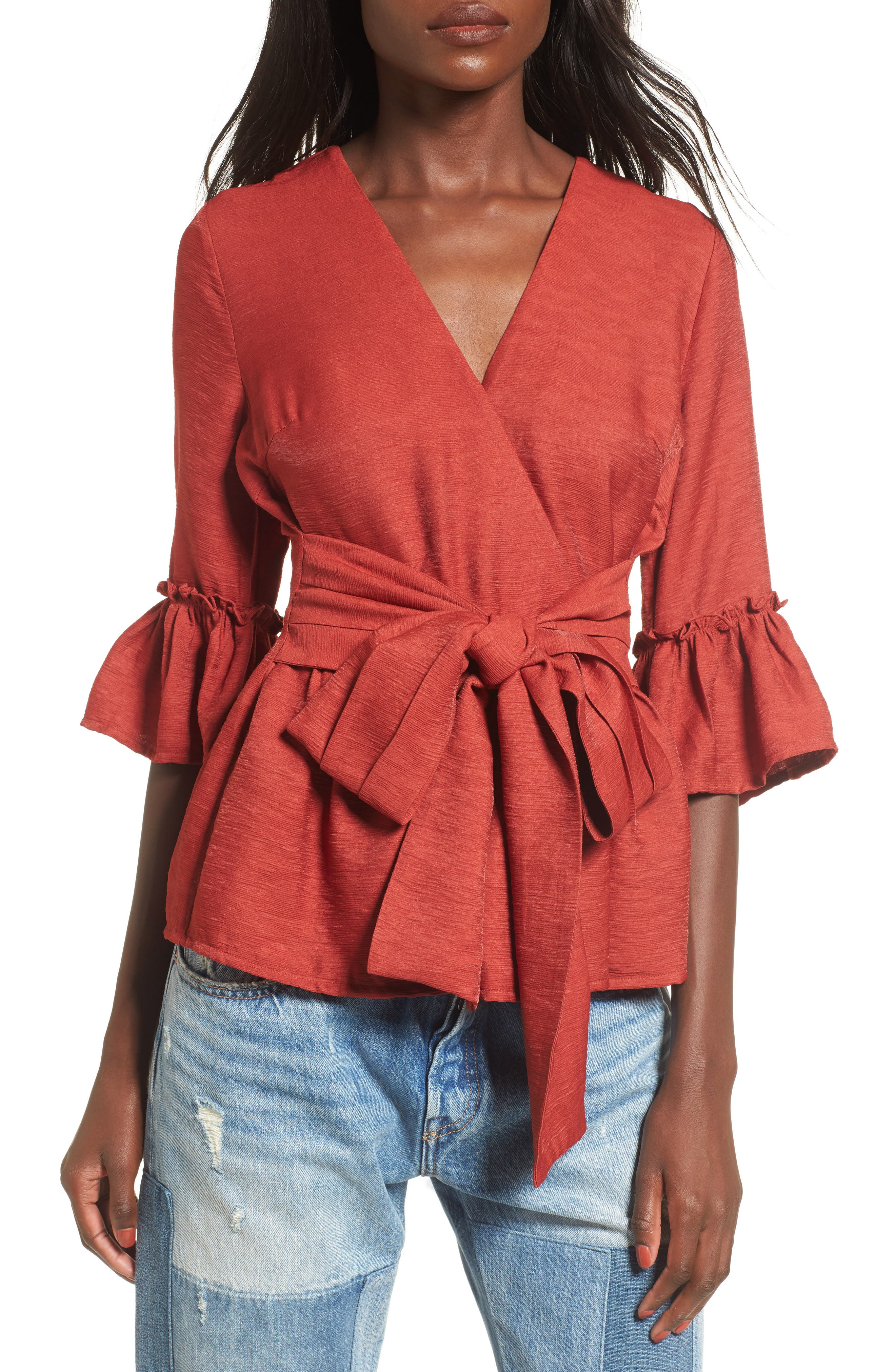 Alternate Image 1 Selected - Moon River Ruffle Surplice Top