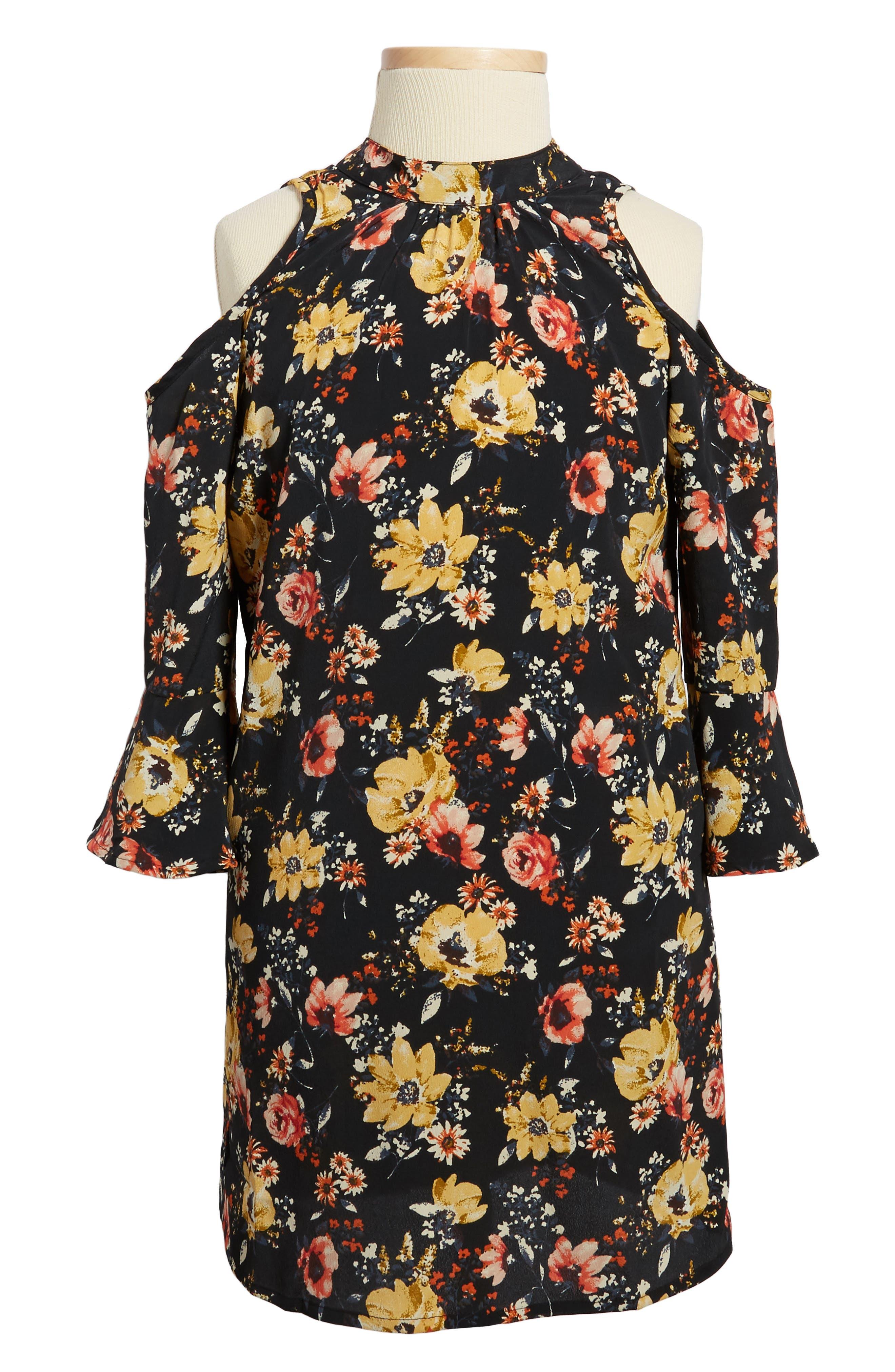 Main Image - Zoe and Rose Floral Print Cold Shoulder Dress (Big Girls)