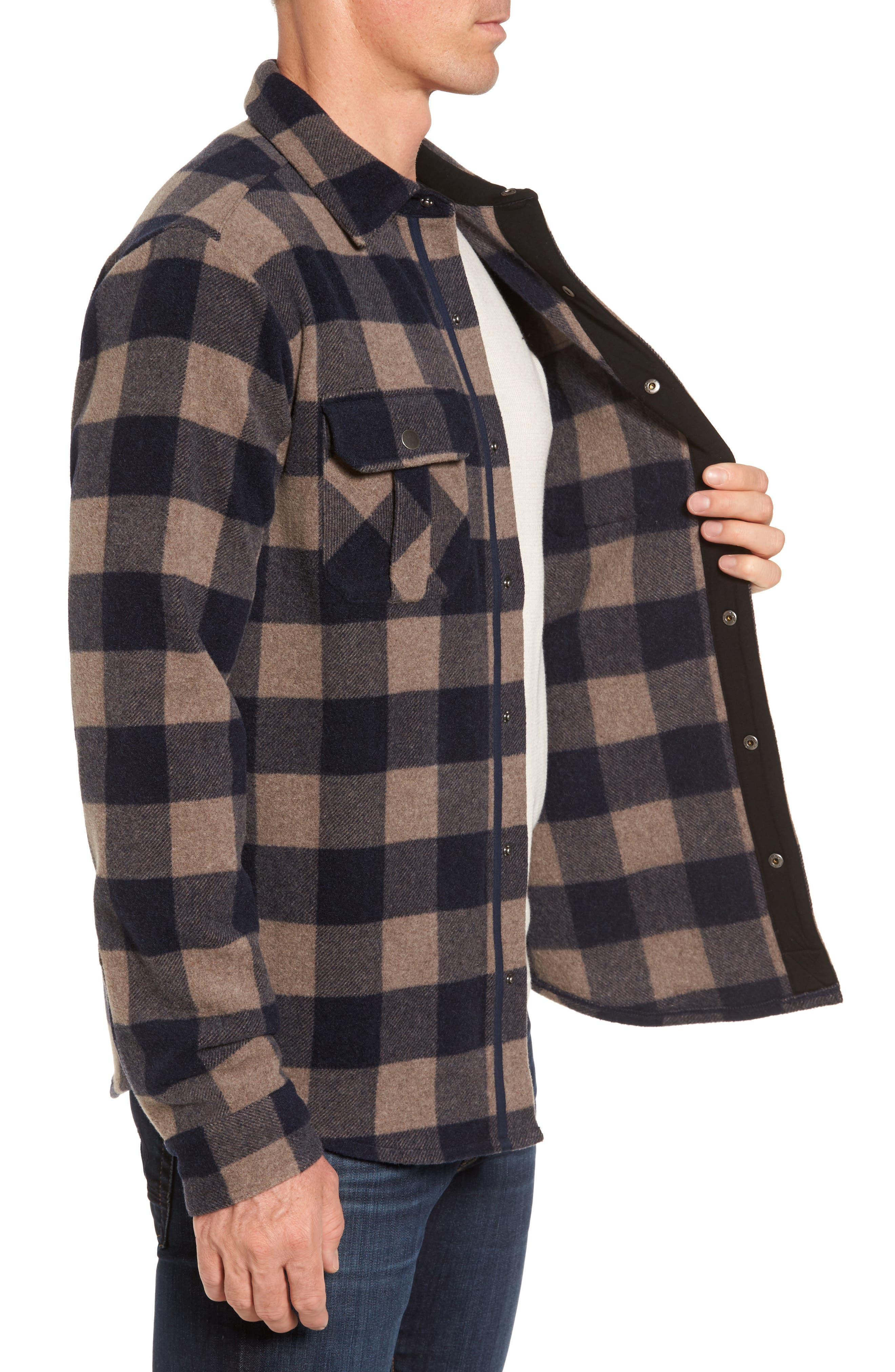 Anchor Line Flannel Shirt Jacket,                             Alternate thumbnail 3, color,                             Navy