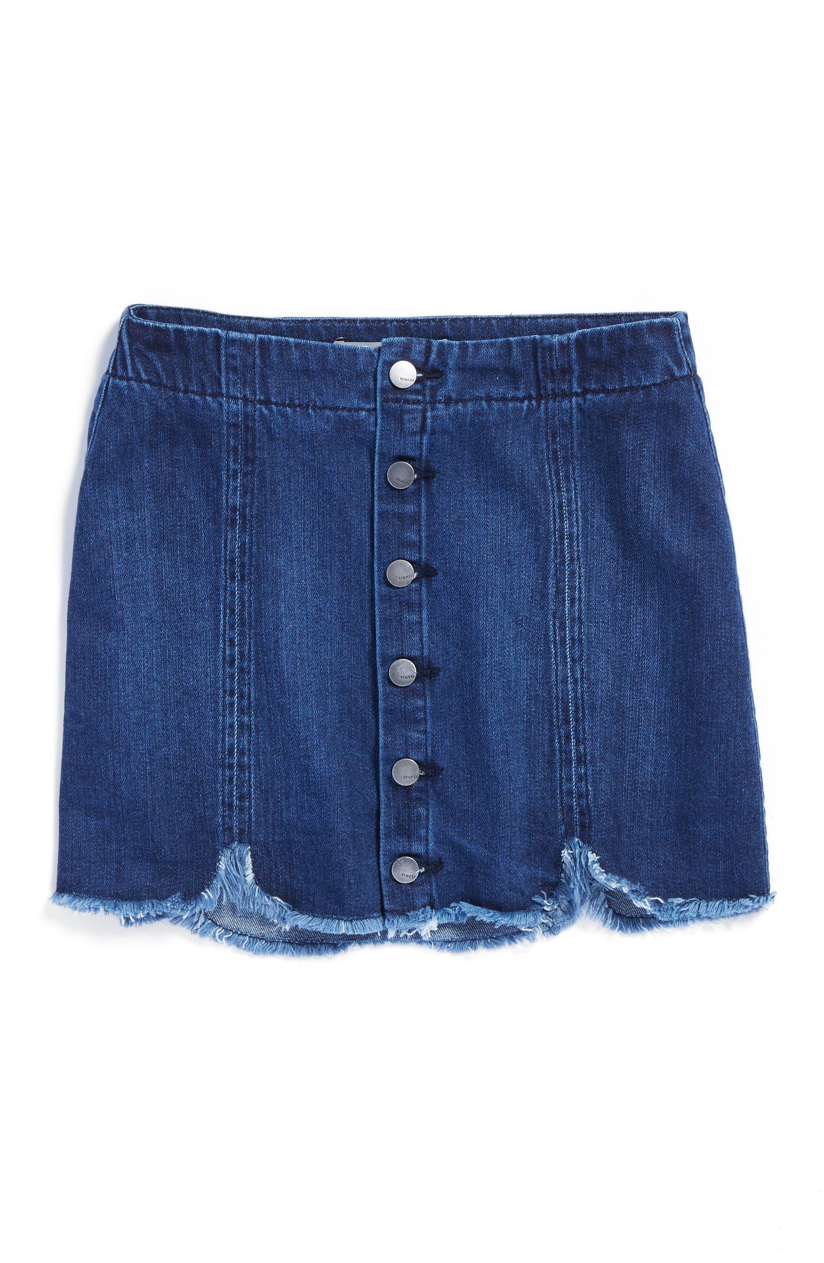 Frayed Scallop Denim Skirt,                         Main,                         color, Indigo