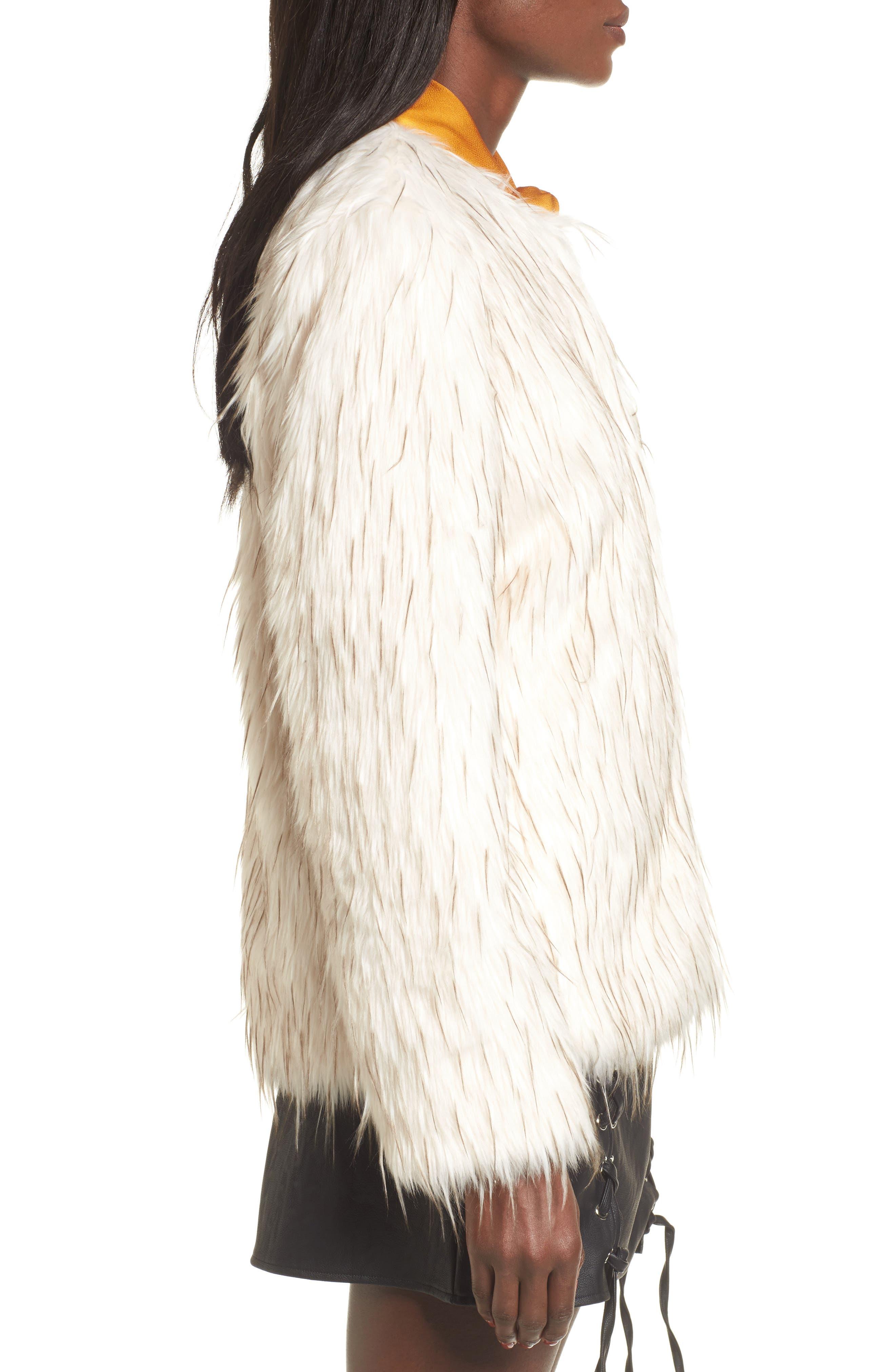 Aurora Faux Fur Jacket,                             Alternate thumbnail 4, color,                             Ivory