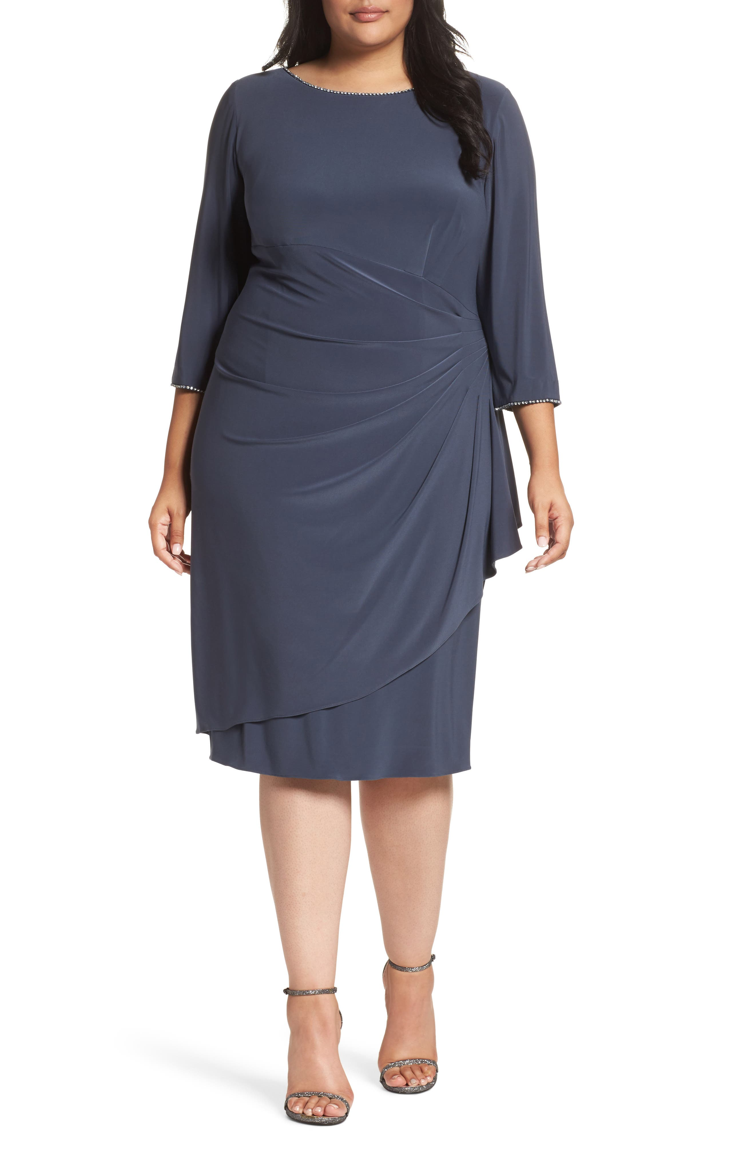 Alex Evenings Scoop Back Ruched Matte Jersey Dress (Plus Size)