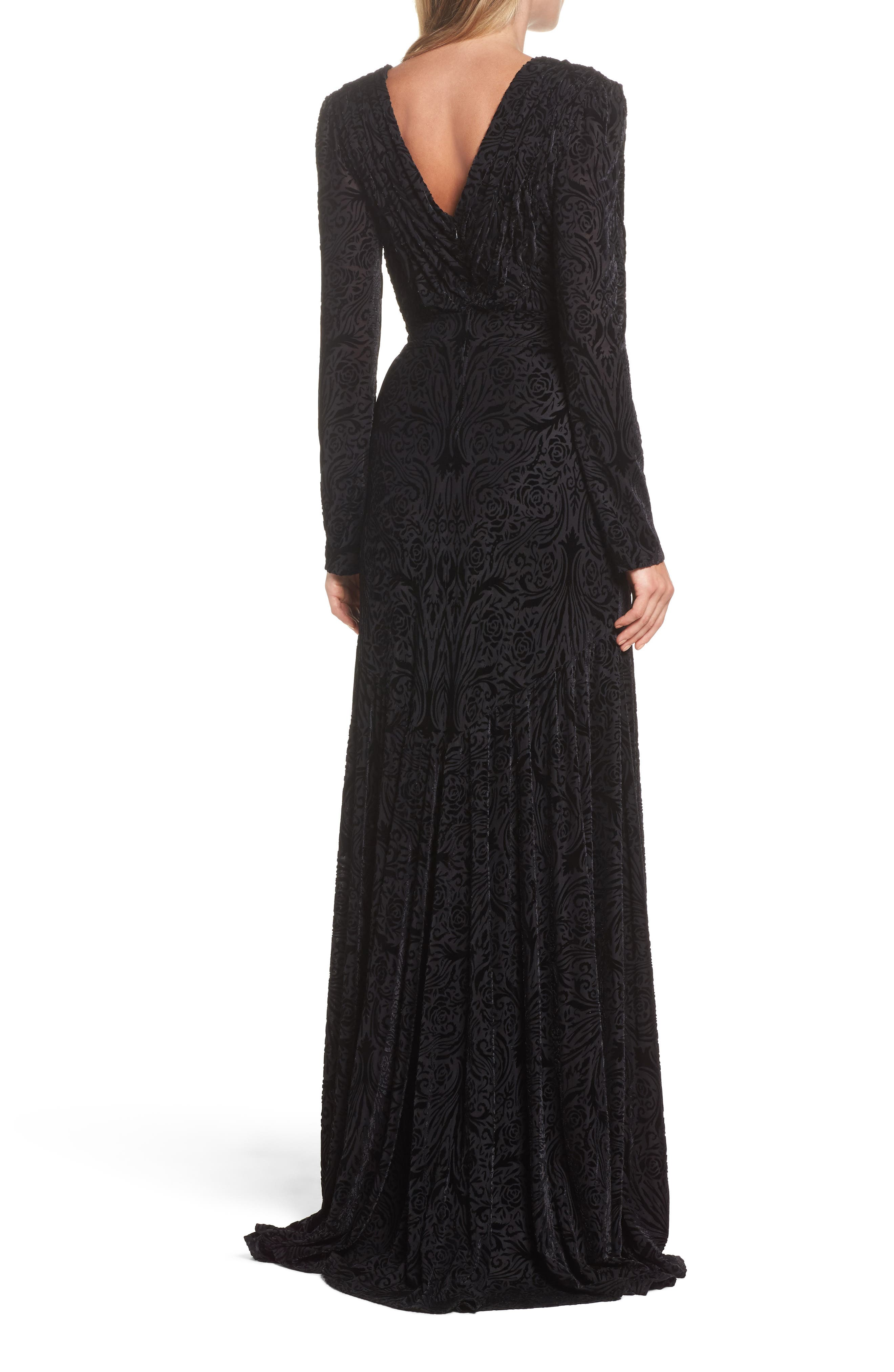 Plunge Burnout Gown,                             Alternate thumbnail 2, color,                             Black