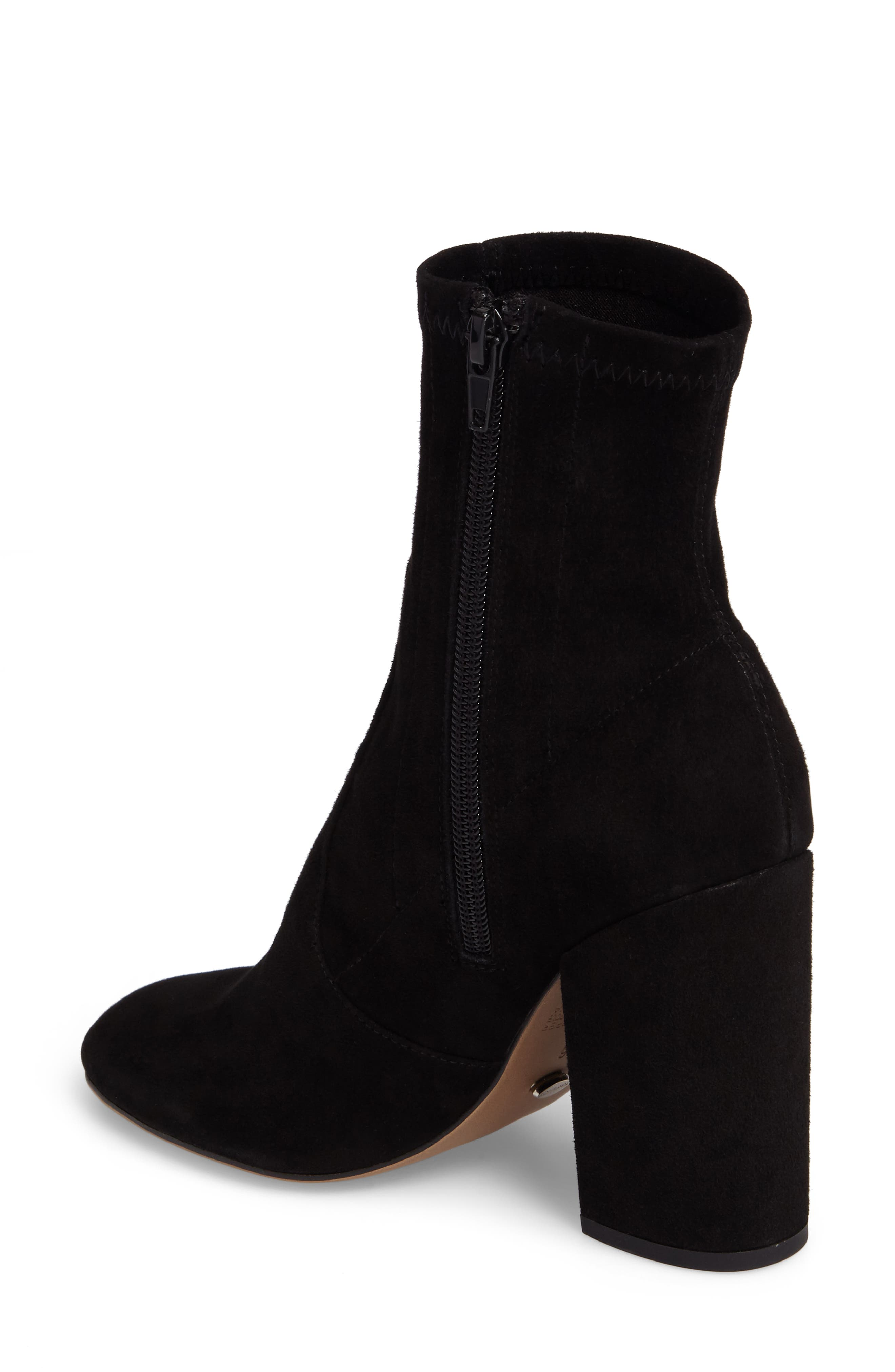 Alaia Block Heel Bootie,                             Alternate thumbnail 2, color,                             Black Suede