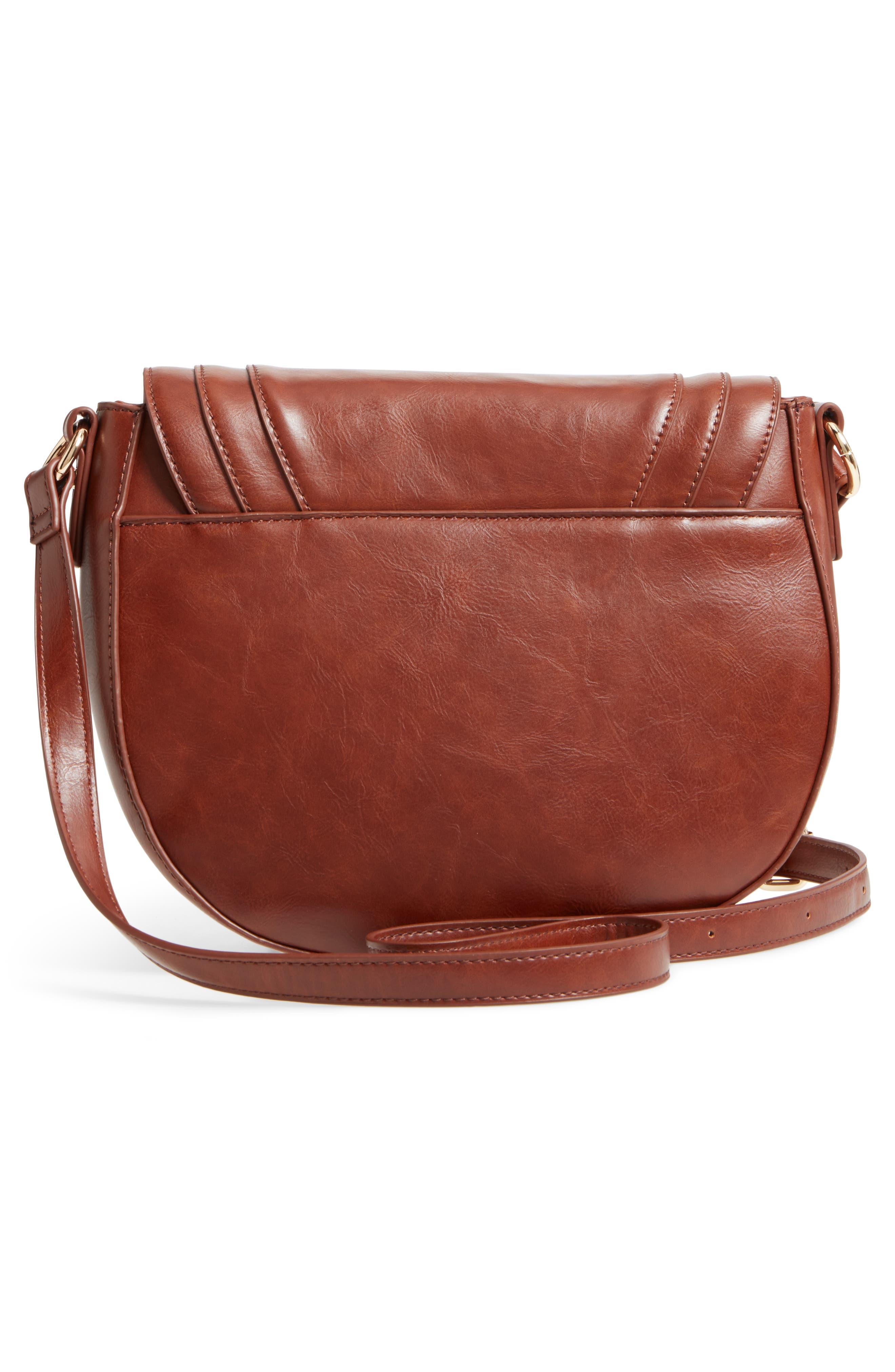 Piri Faux Leather Saddle Bag,                             Alternate thumbnail 3, color,                             Whiskey