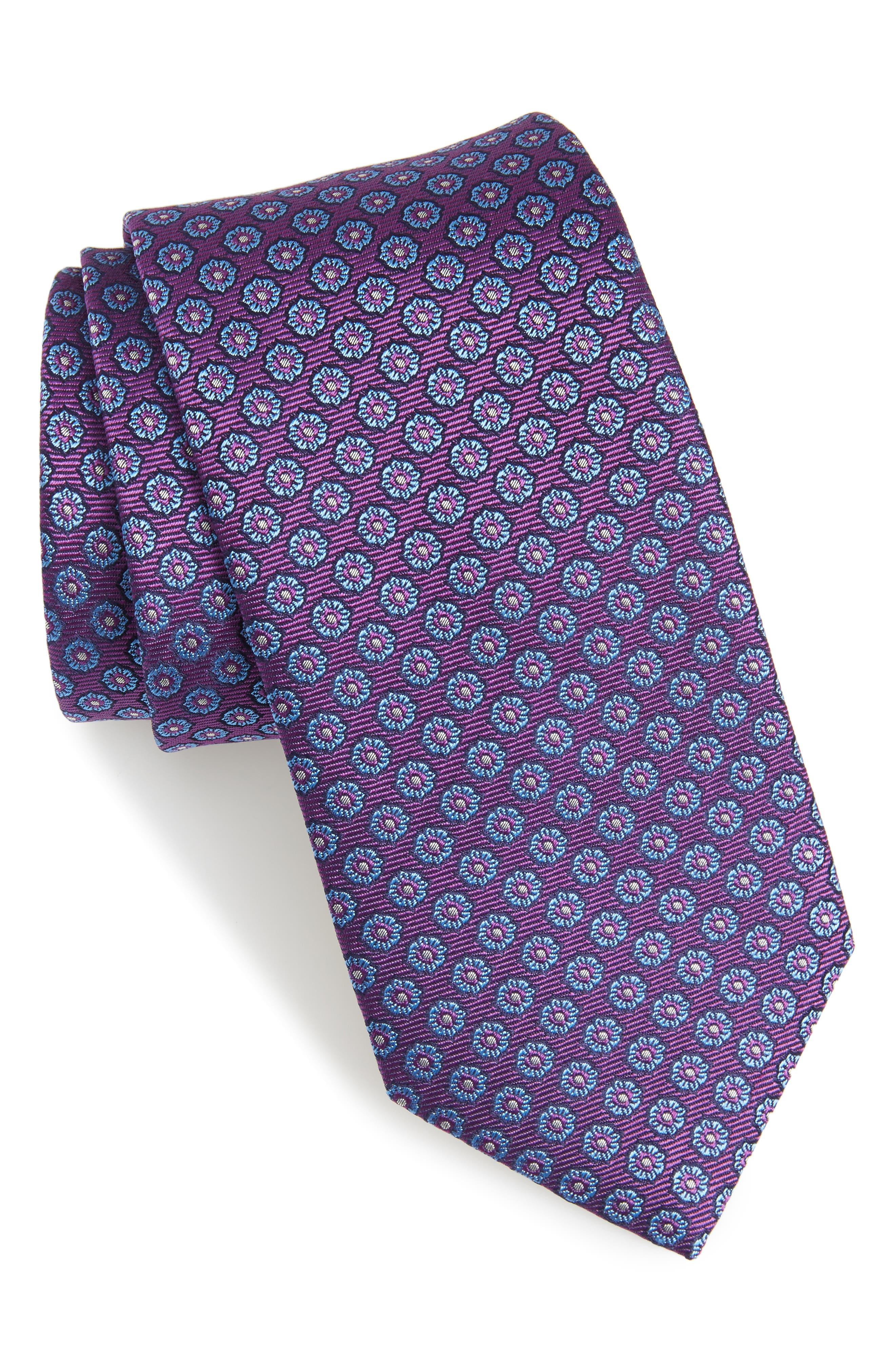 Eton Floral Medallion Silk Tie