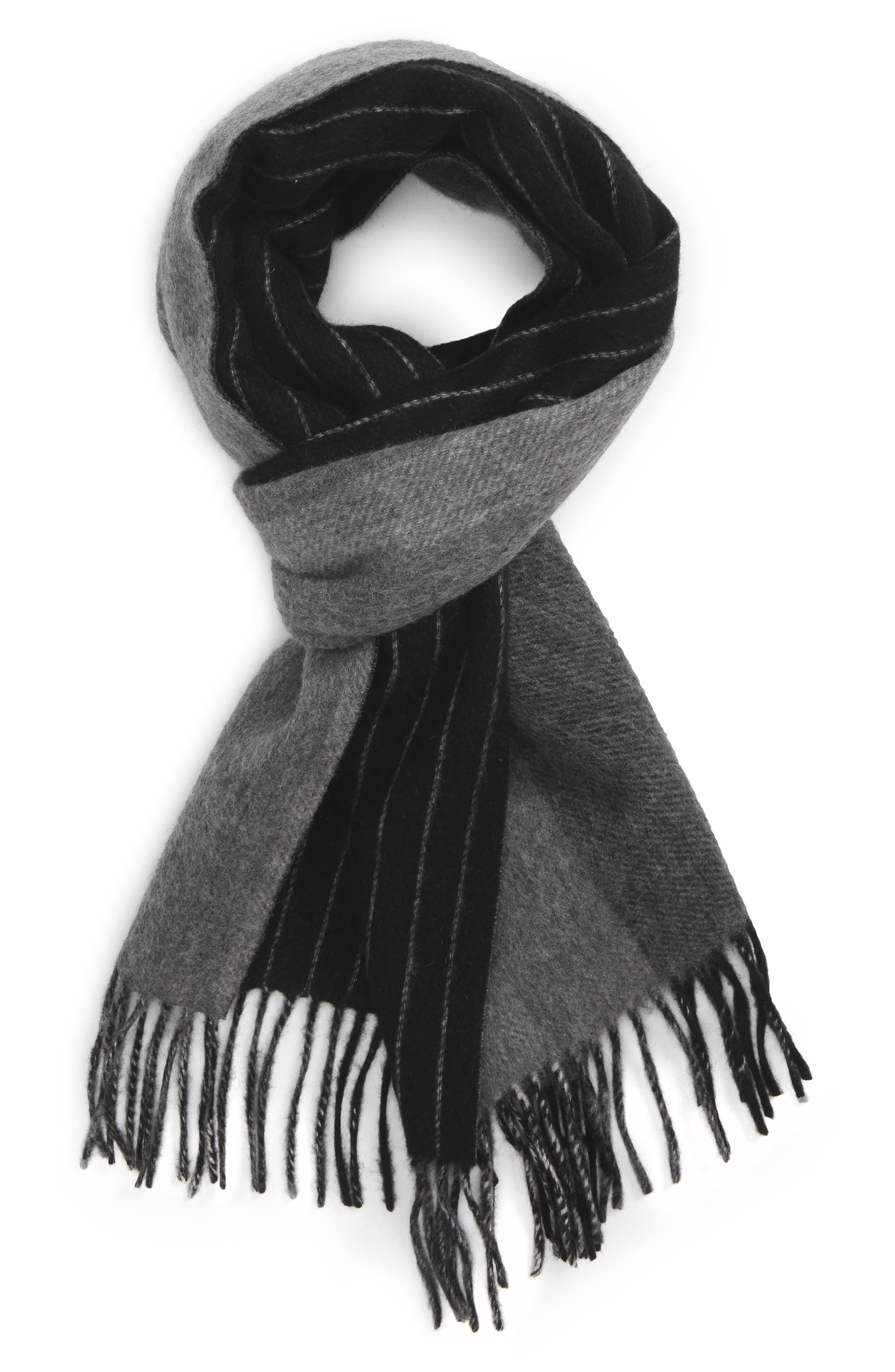Pinstripe Cashmere Scarf,                         Main,                         color, Black/ Grey