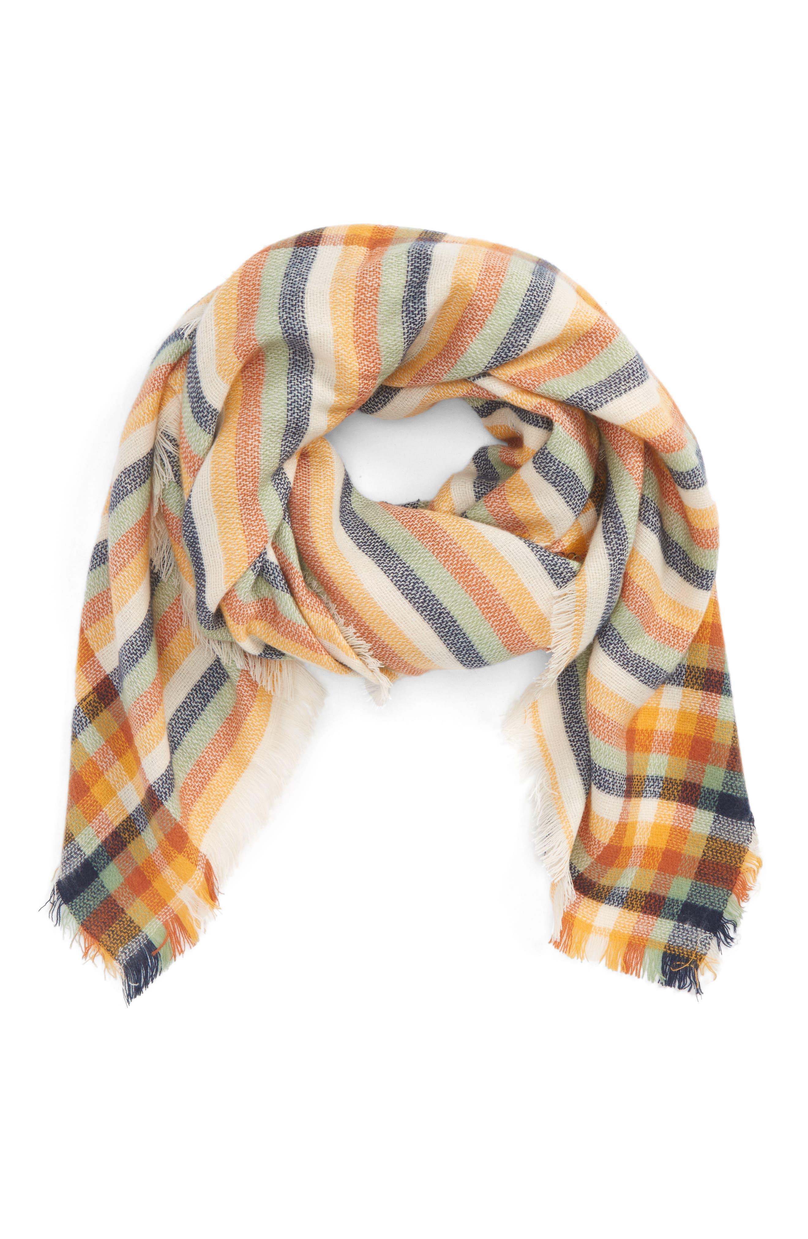 Woven Stripe Scarf,                             Main thumbnail 1, color,                             Rust Multi