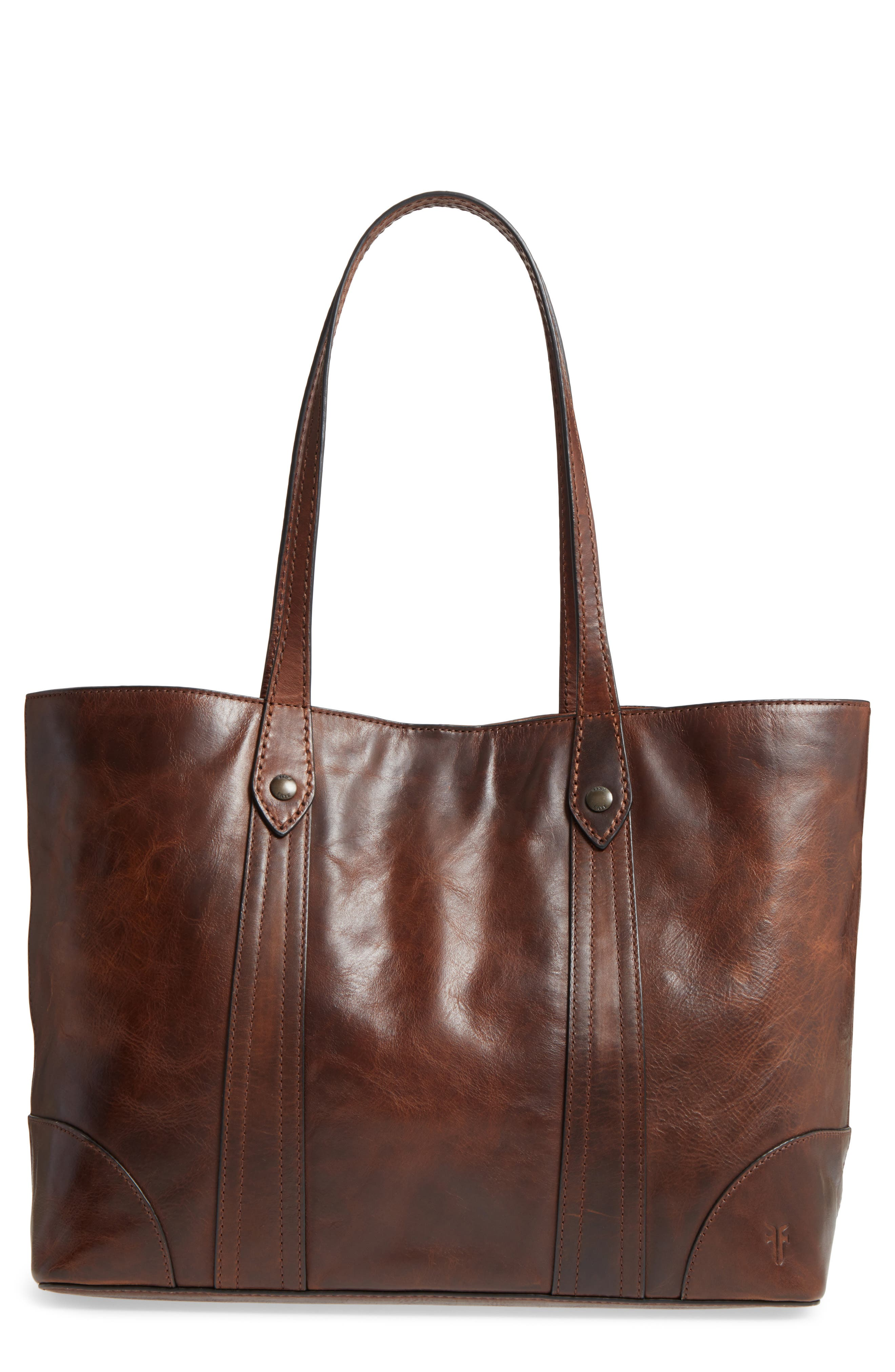 Melissa Leather Shopper,                             Main thumbnail 1, color,                             Dark Brown