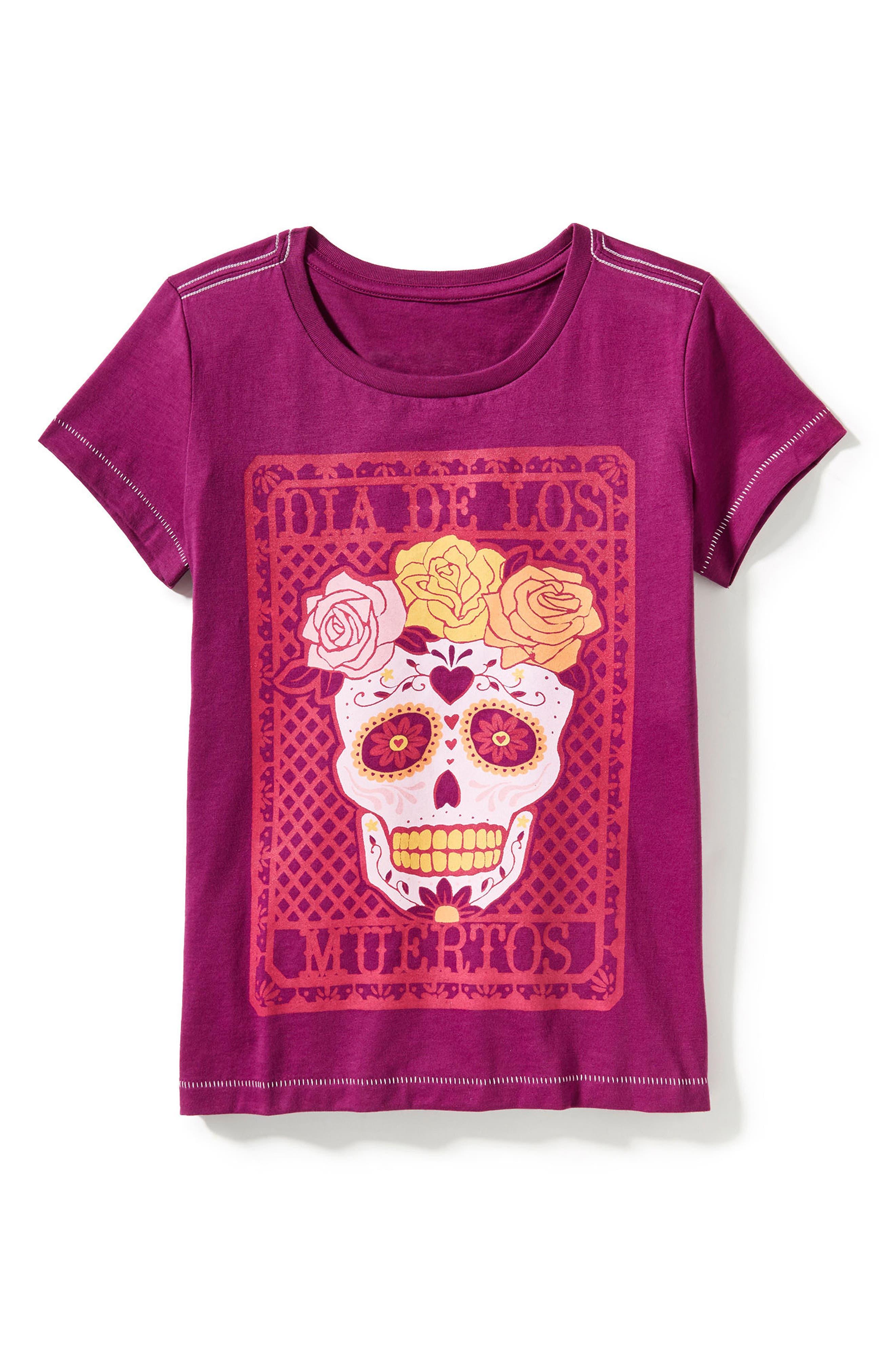 Main Image - Peek Graphic Día de Los Muertos Tee (Toddler Girls, Little Girls & Big Girls)