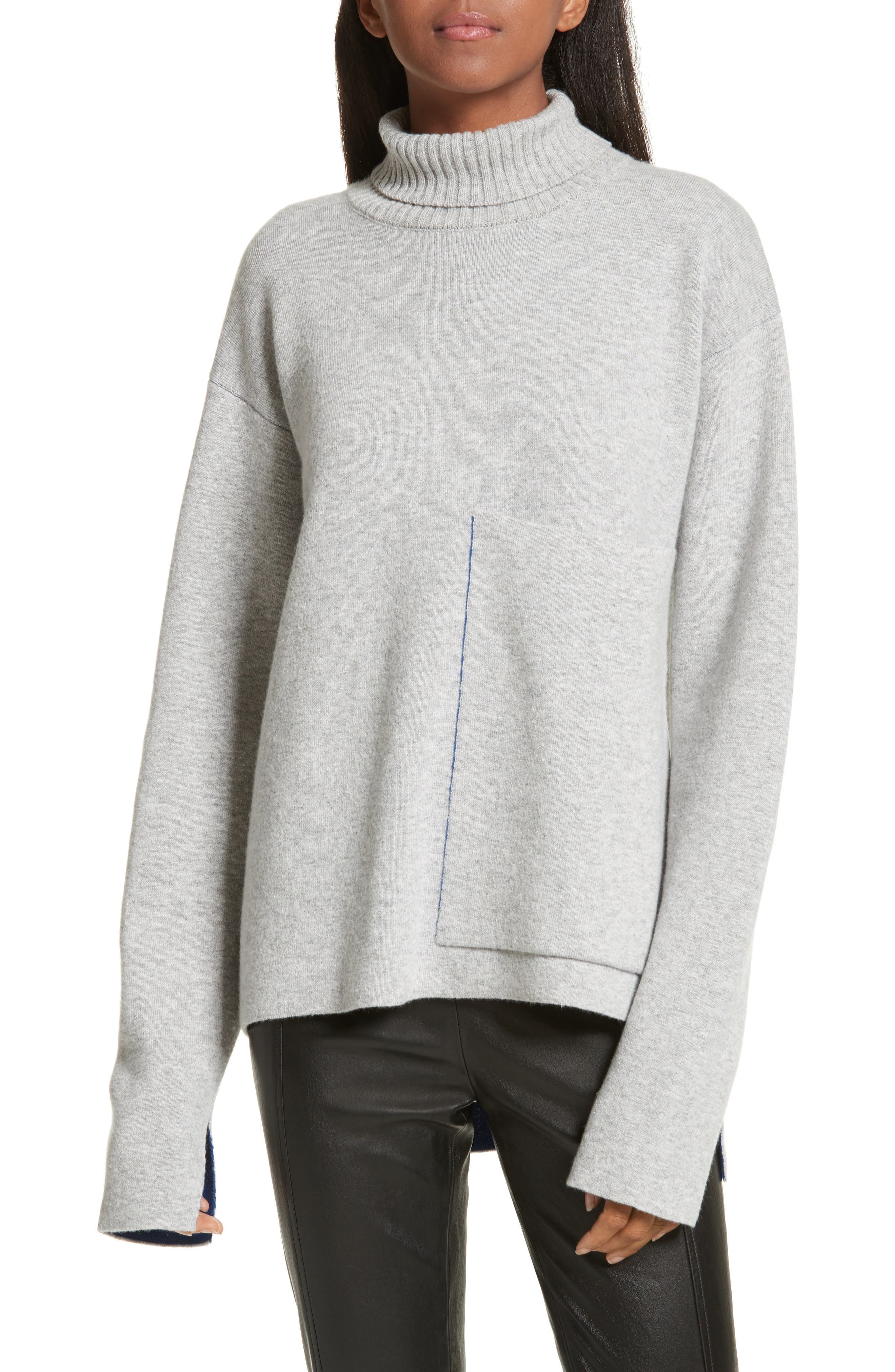JOSEPH Double-Face Wool Blend Pocket Sweater
