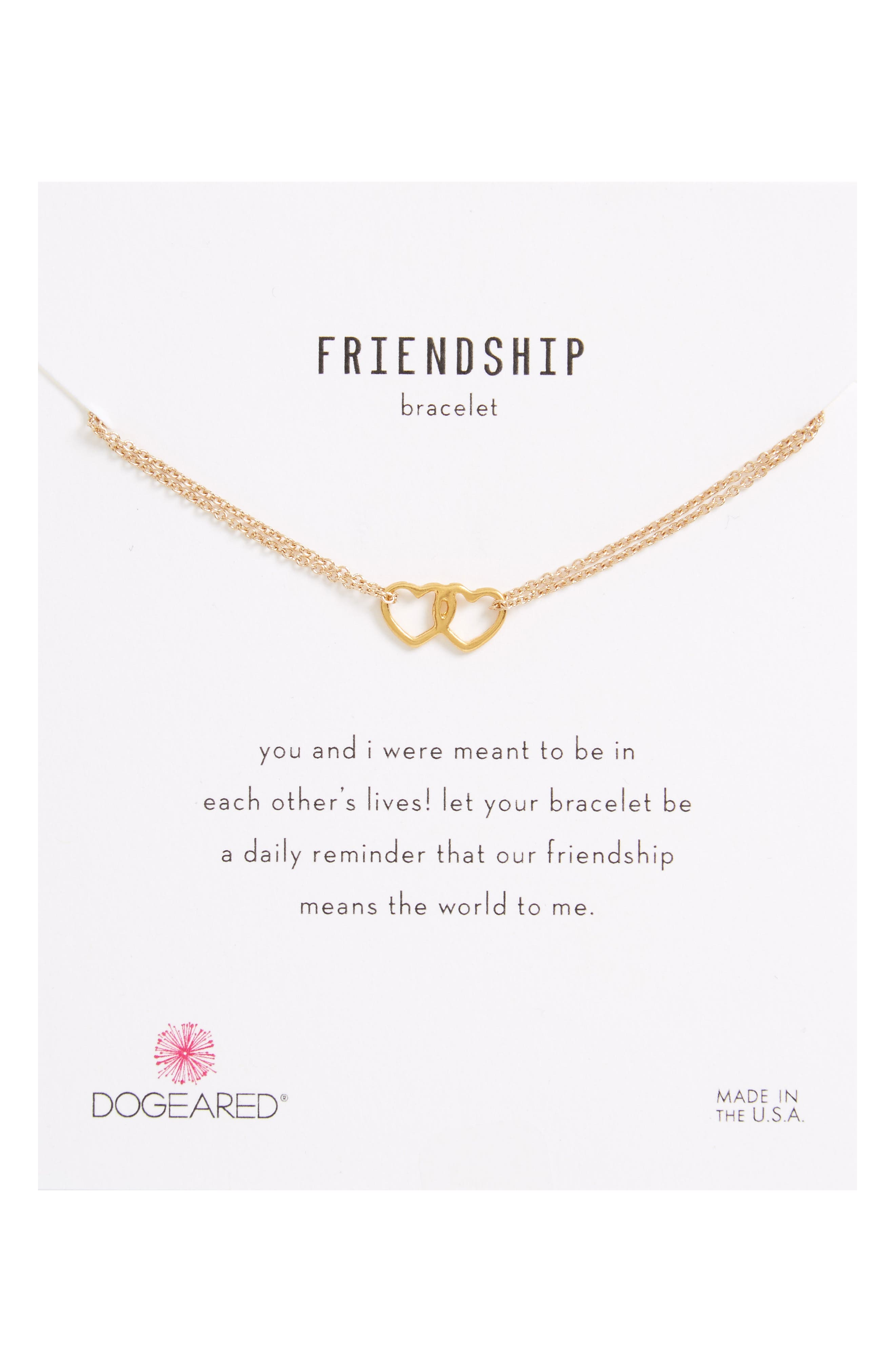 Friendship Linked Open Heart Charm Chain Bracelet,                         Main,                         color, Gold