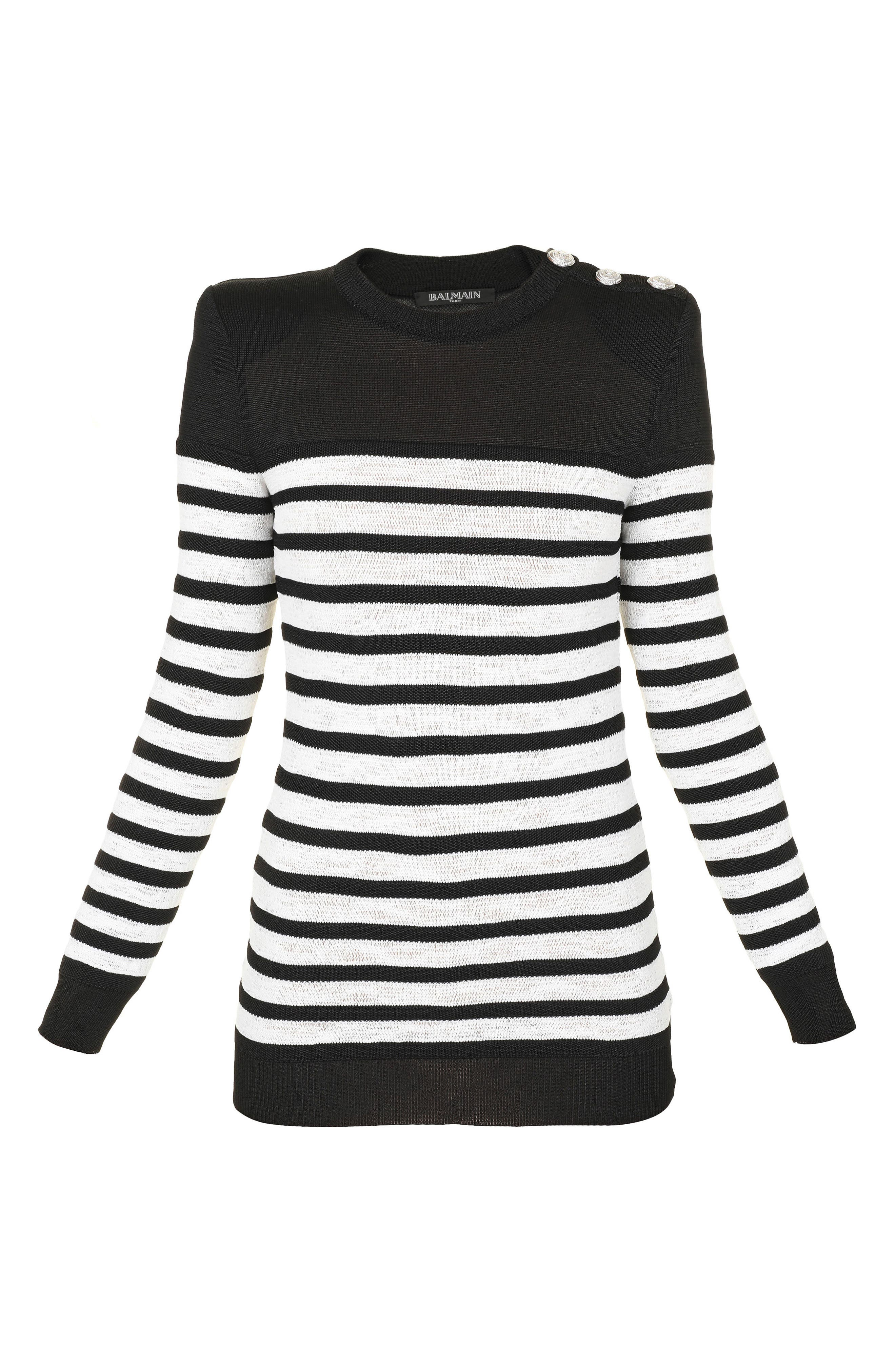 Marine Stripe Knit Sweater,                             Alternate thumbnail 6, color,                             Black And White