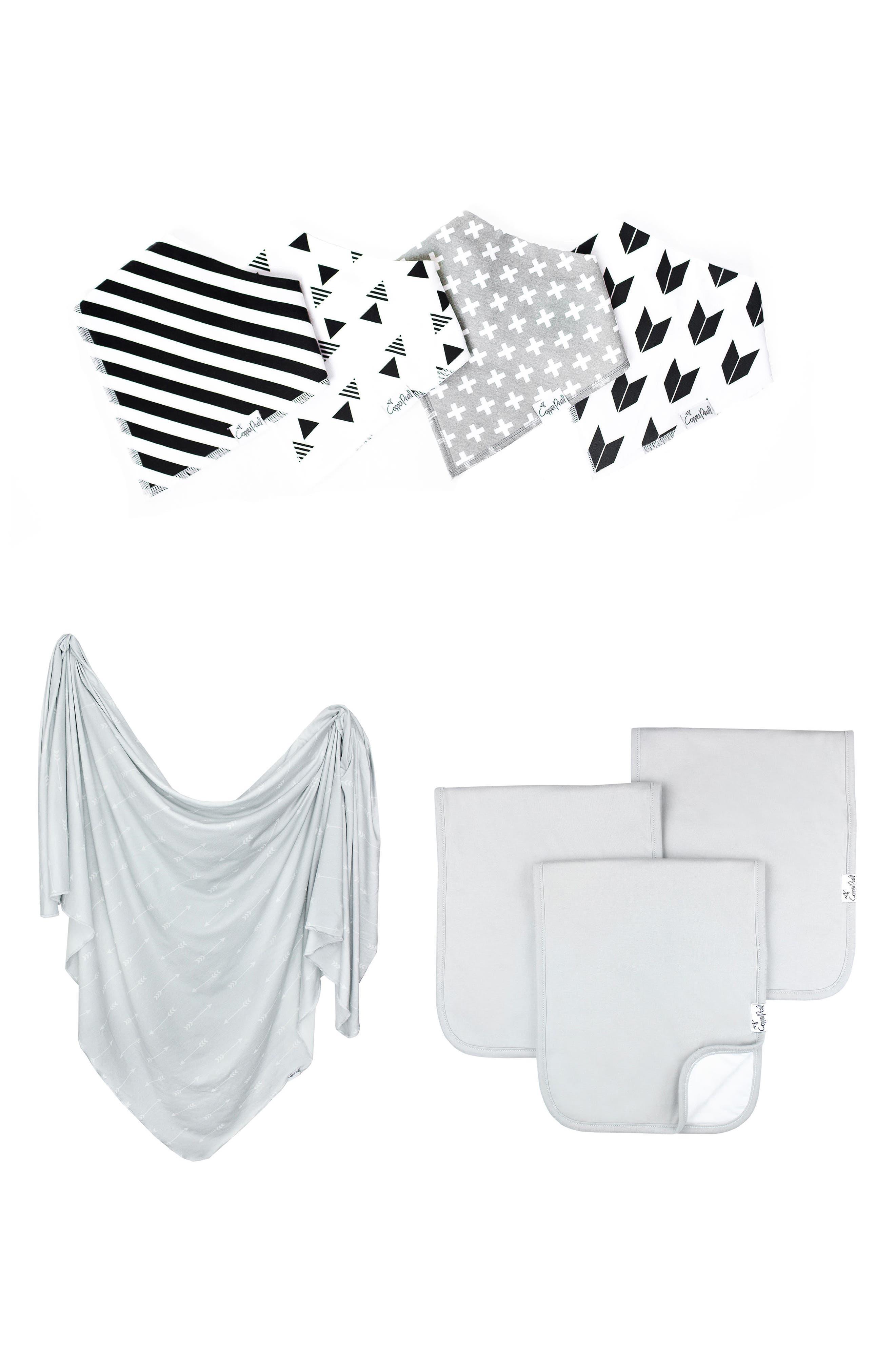 Alternate Image 1 Selected - Copper Pearl Shade Bib, Burp Cloth & Swaddle Blanket Gift Set