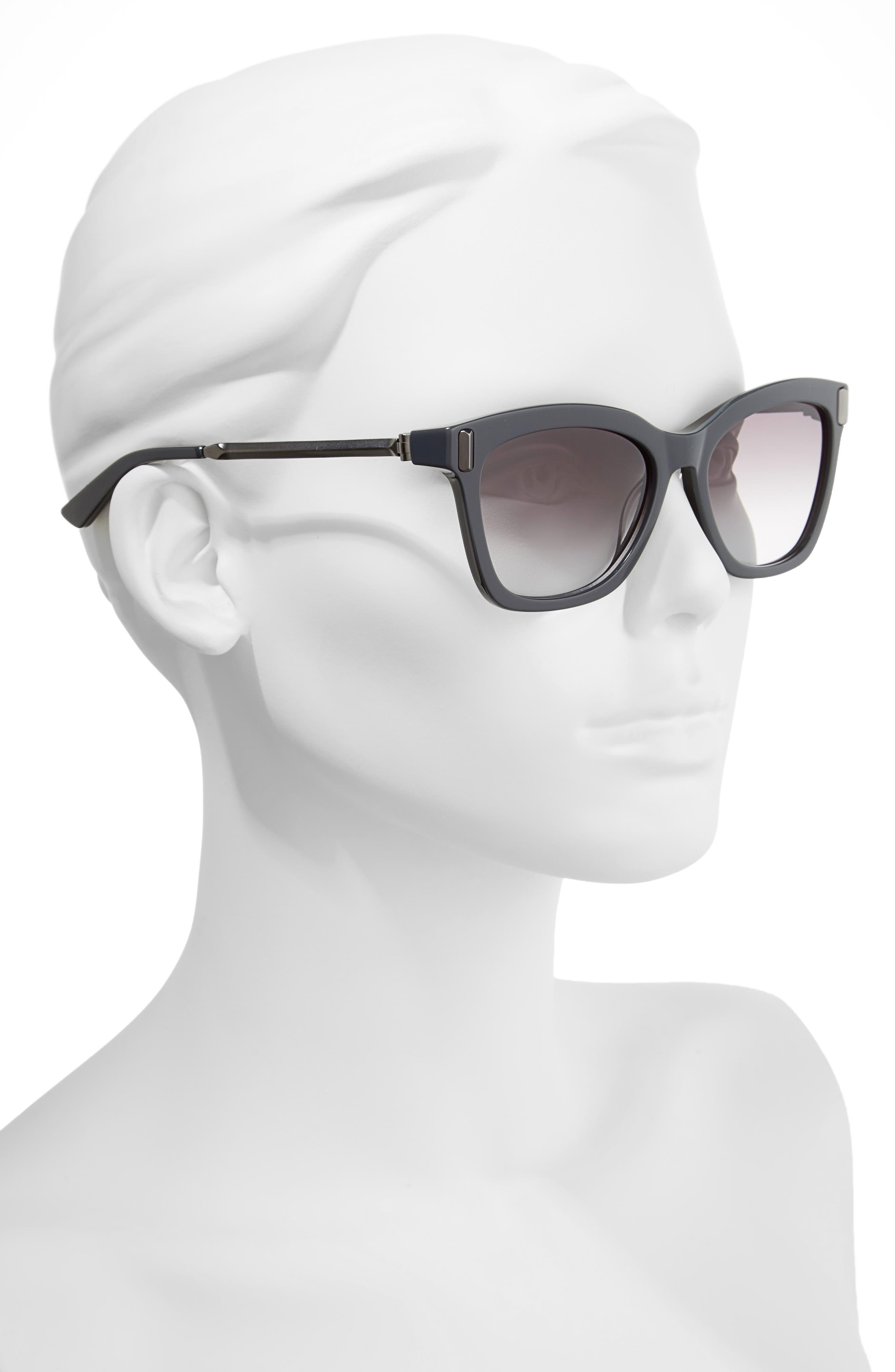 55mm Square Sunglasses,                             Alternate thumbnail 2, color,                             Jet/ Black
