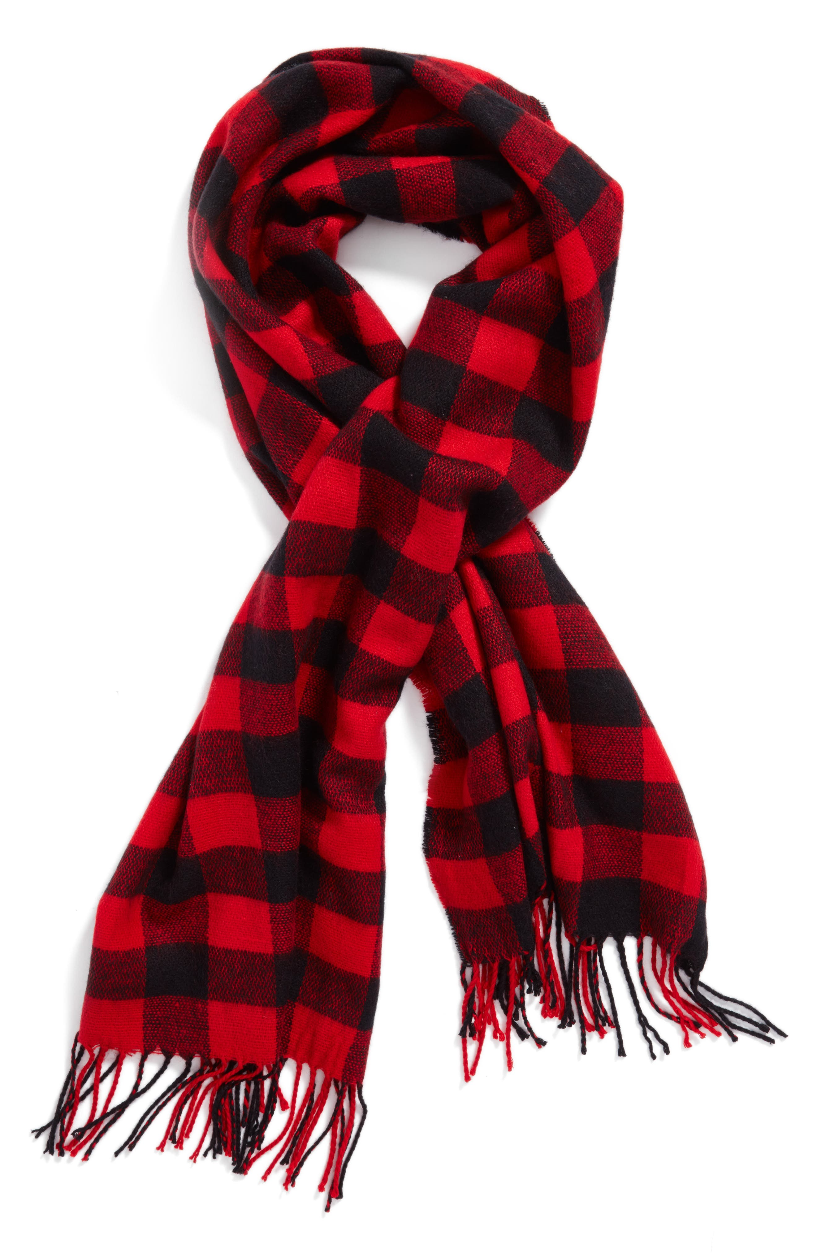 Buffalo Plaid Oblong Scarf,                             Alternate thumbnail 2, color,                             Black/ Red