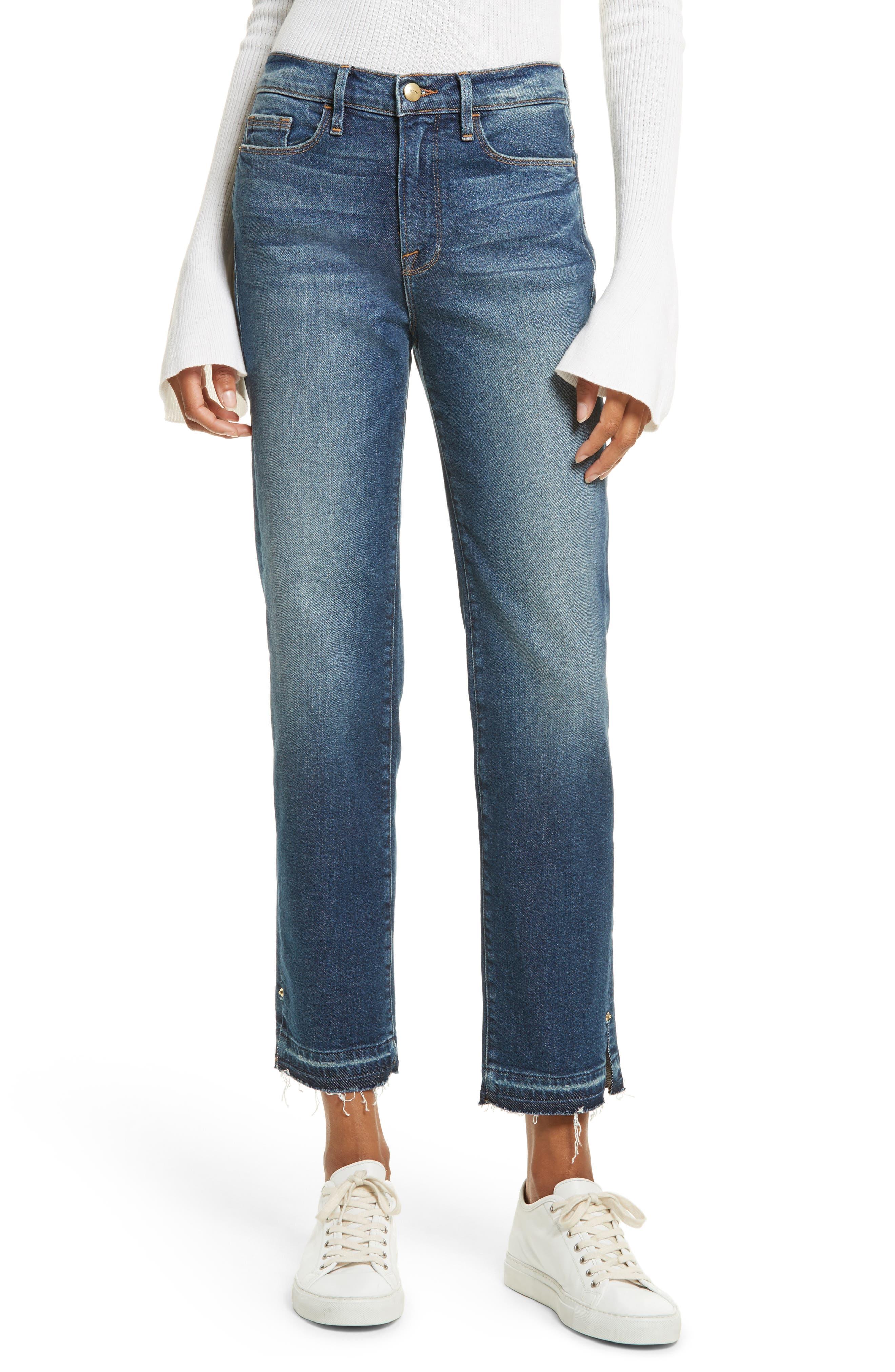 High Waist Released Hem Crop Jeans,                         Main,                         color, Granby
