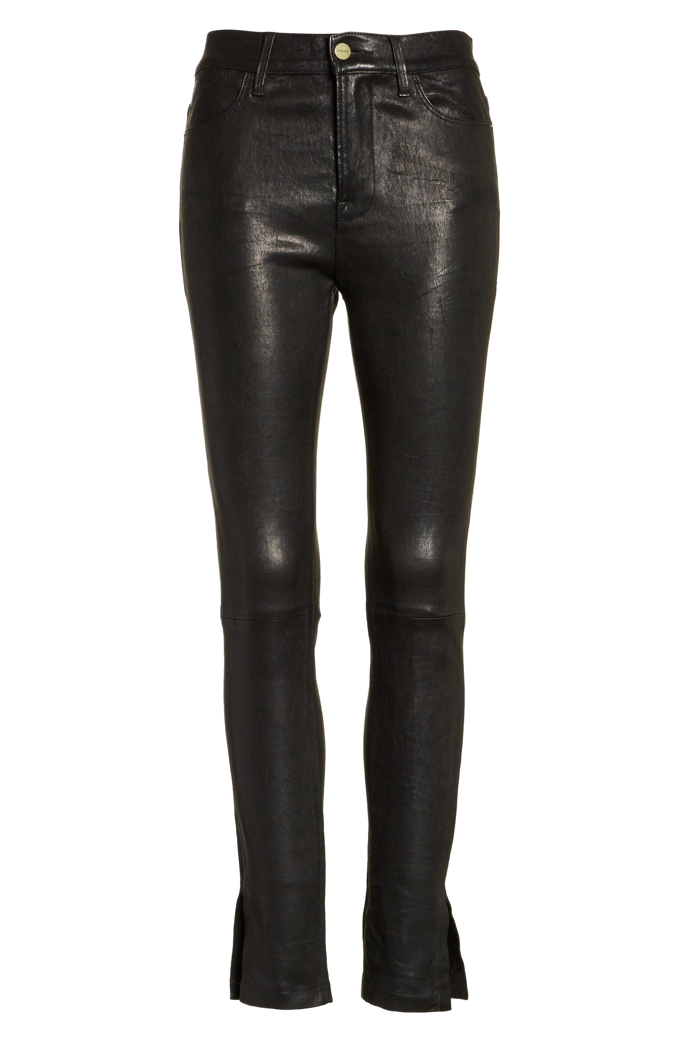 Le High Skinny Slit Leather Pants,                             Alternate thumbnail 7, color,                             Washed Black