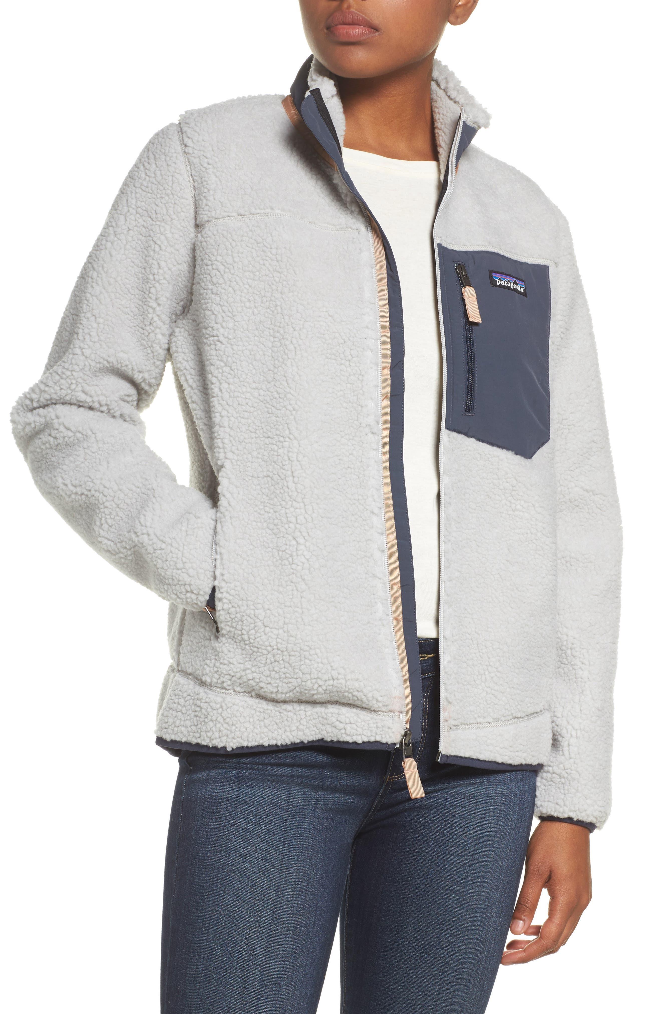 Classic Retro-X<sup>®</sup> Fleece Jacket,                         Main,                         color, Tailored Grey W/ Smolder Blue