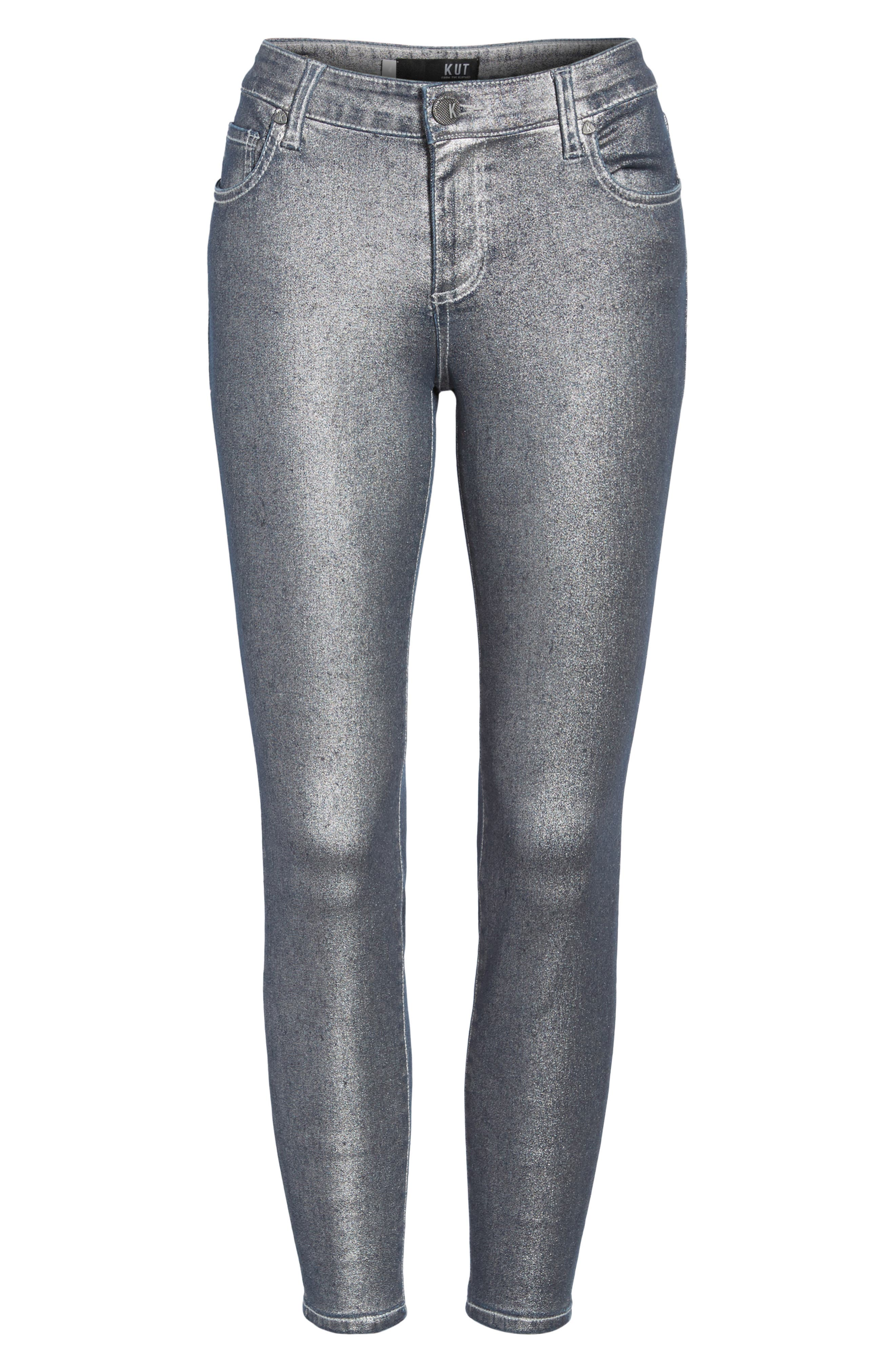 Alternate Image 6  - KUT from the Kloth Connie Ankle Zipper Jeans (Silver) (Regular & Petite)